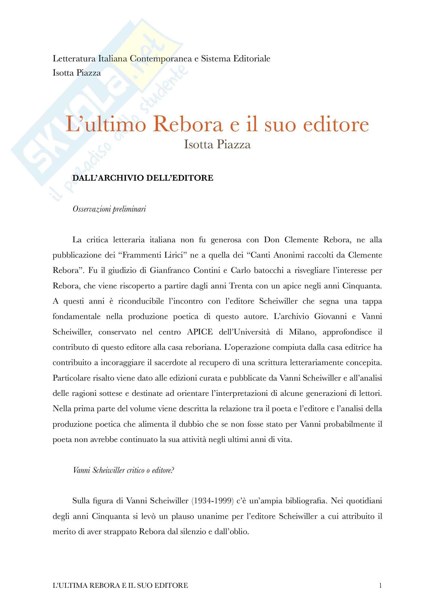 Riassunto esame Letteratura Italiana Contemporanea e Sistema Editoriale, Prof. Piazza, libro consigliato L'ultimo Rebora, Piazza