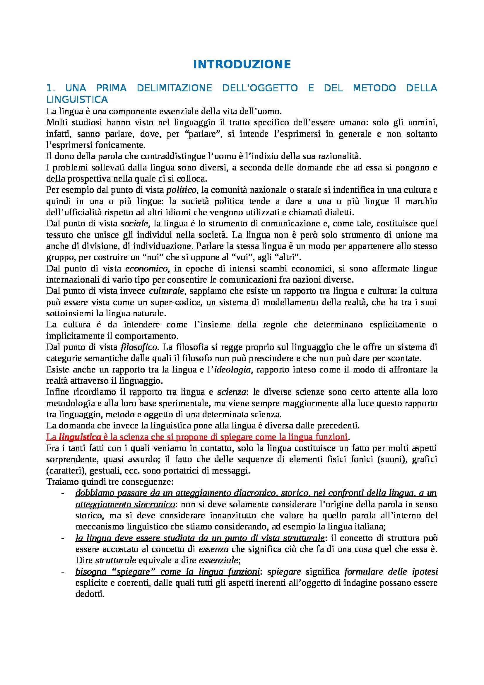 Riassunto esame Linguistica generale, prof. Gatti, libro consigliato Storia della linguistica generale