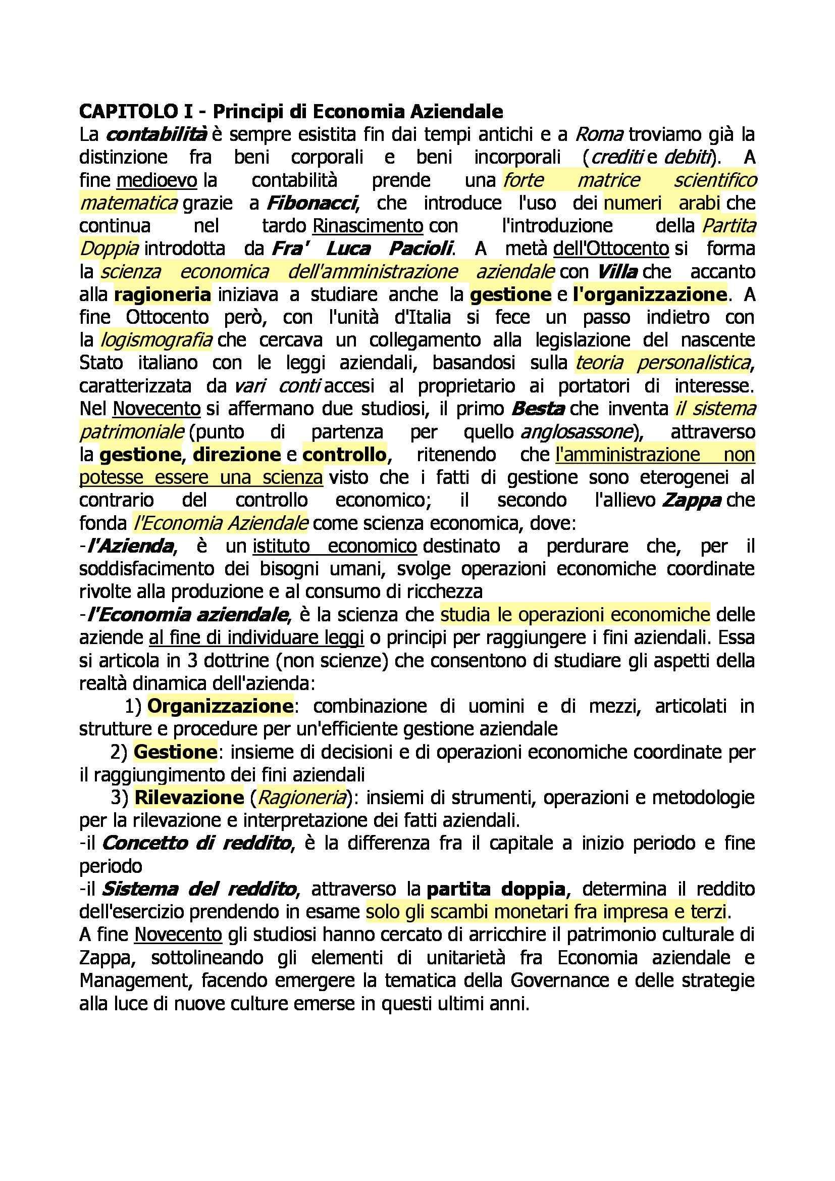Riassunto esame Economia aziendale, prof. Capocchi, libro consigliato Economia aziendale Saita