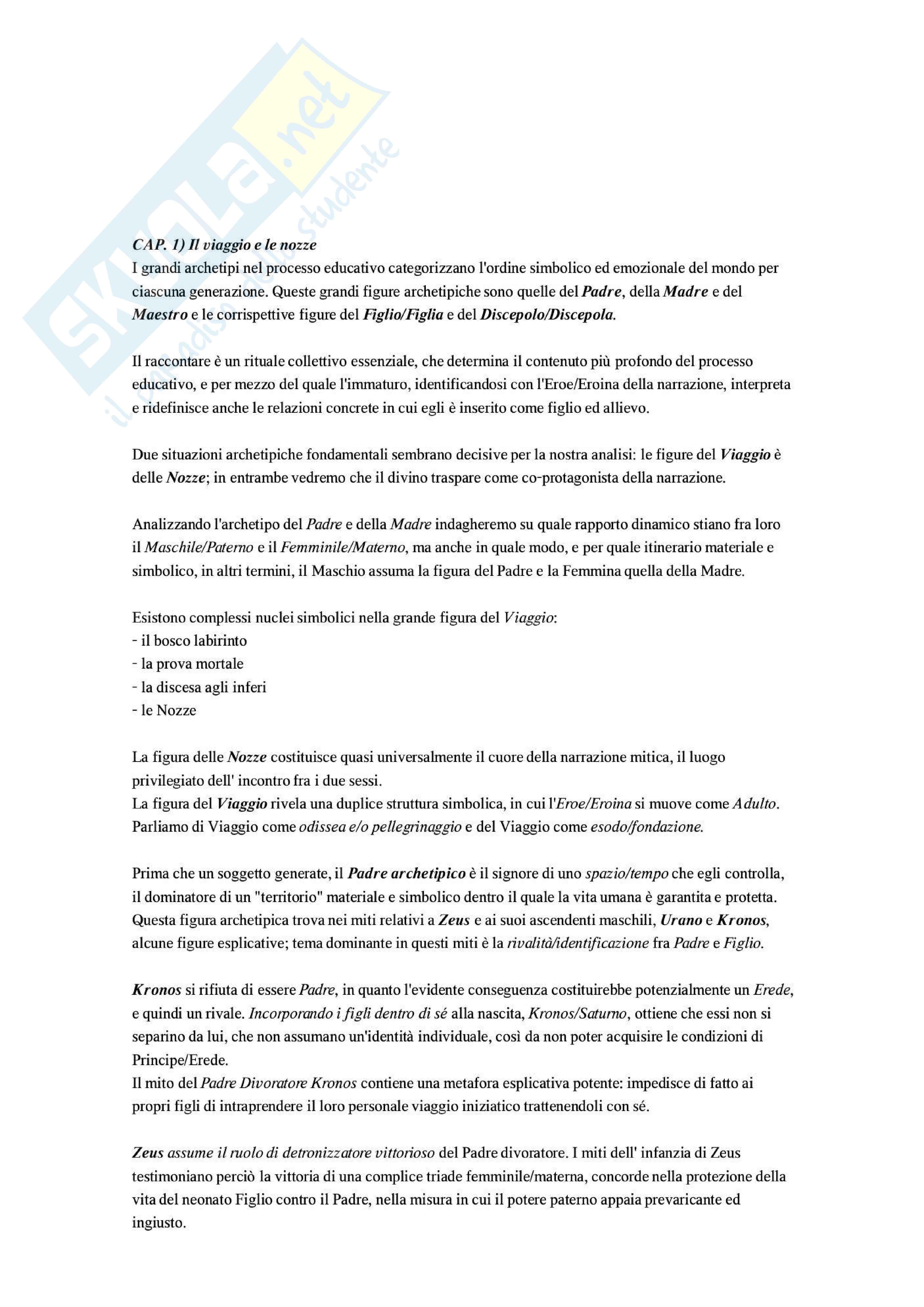Riassunto esame Pedagogia, prof. Moscato, libro consigliato Il sentiero nel labirinto: Miti e metafore nel processo educativo
