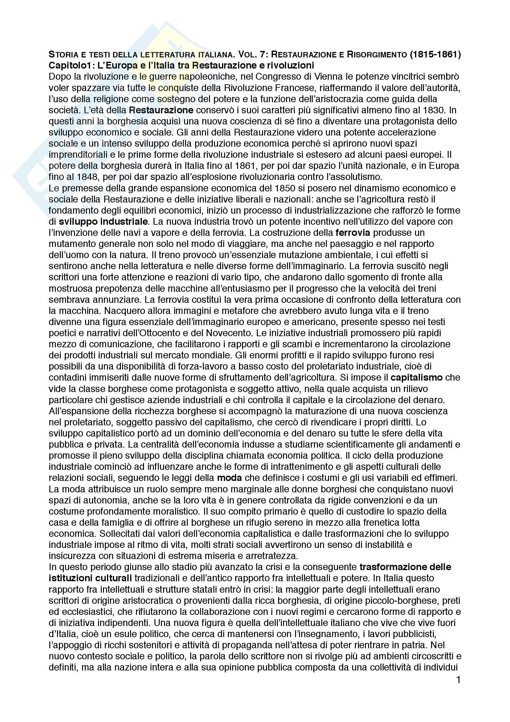 """Riassunto esame Letteratura italiana, prof.ssa Roberta Turchi, libro consigliato """"Storia e testi della letteratura italiana. Vol. 7: Restaurazione e Risorgimento (1815-1861)"""", Ferroni Giulio"""