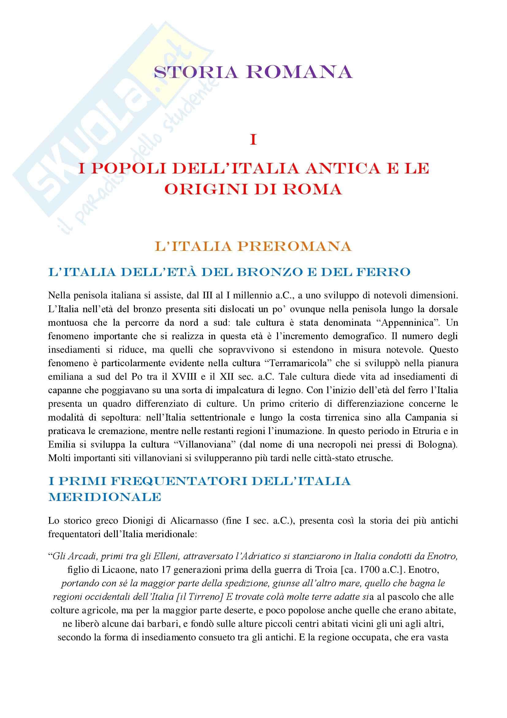 Riassunto esame Storia Romana, prof. Messana, libro consigliato Storia Romana, di Geraci, Marcone