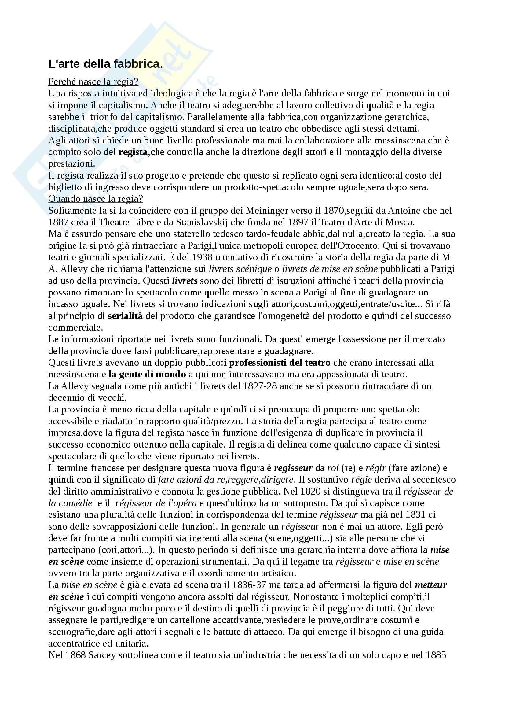 Riassunto esame Storia del teatro contemporanea, prof. Cambiaghi, libro consigliato Il Teatro dei Registi, Alonge