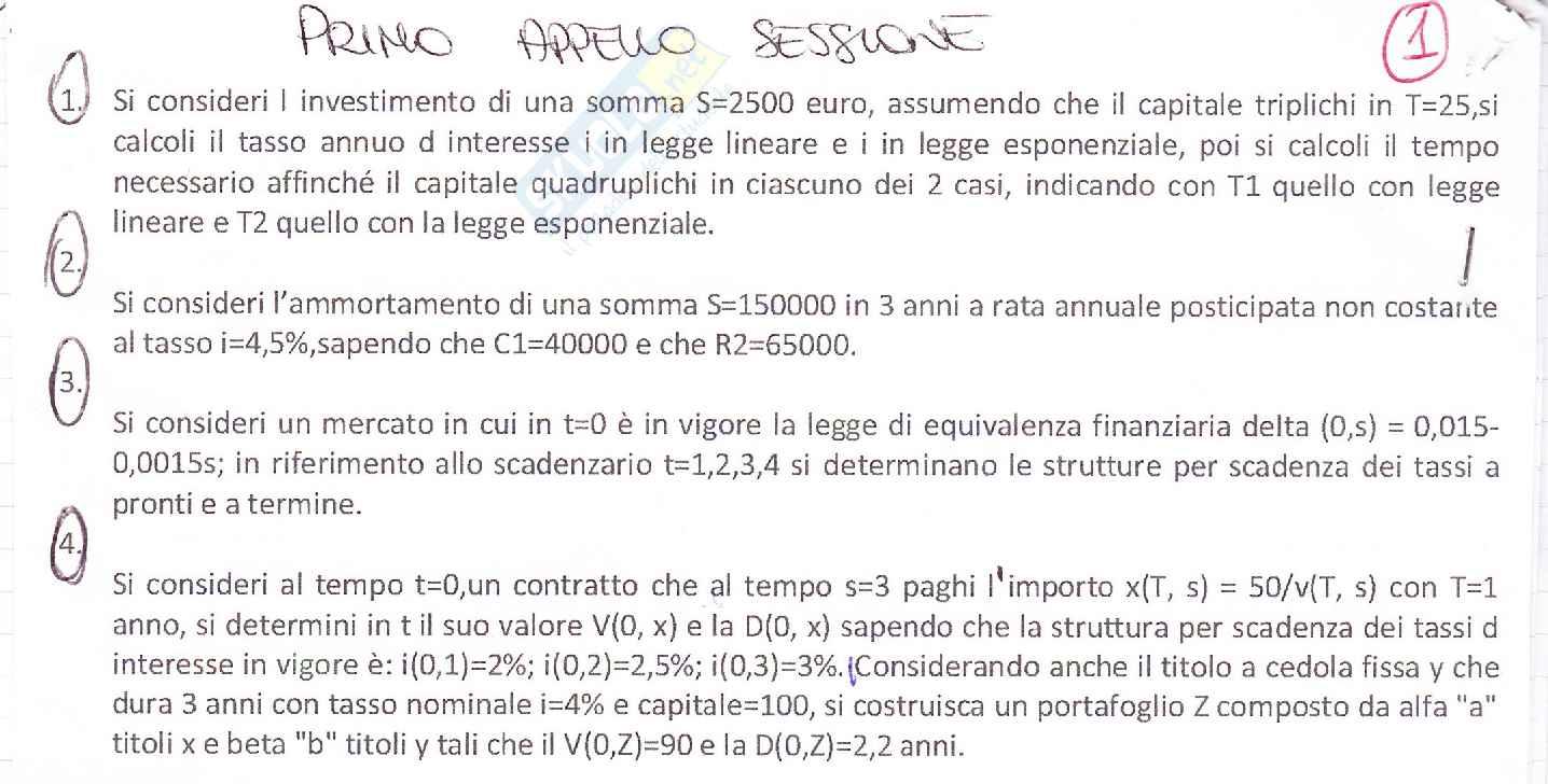esercitazione C. Mottura Matematica finanziaria