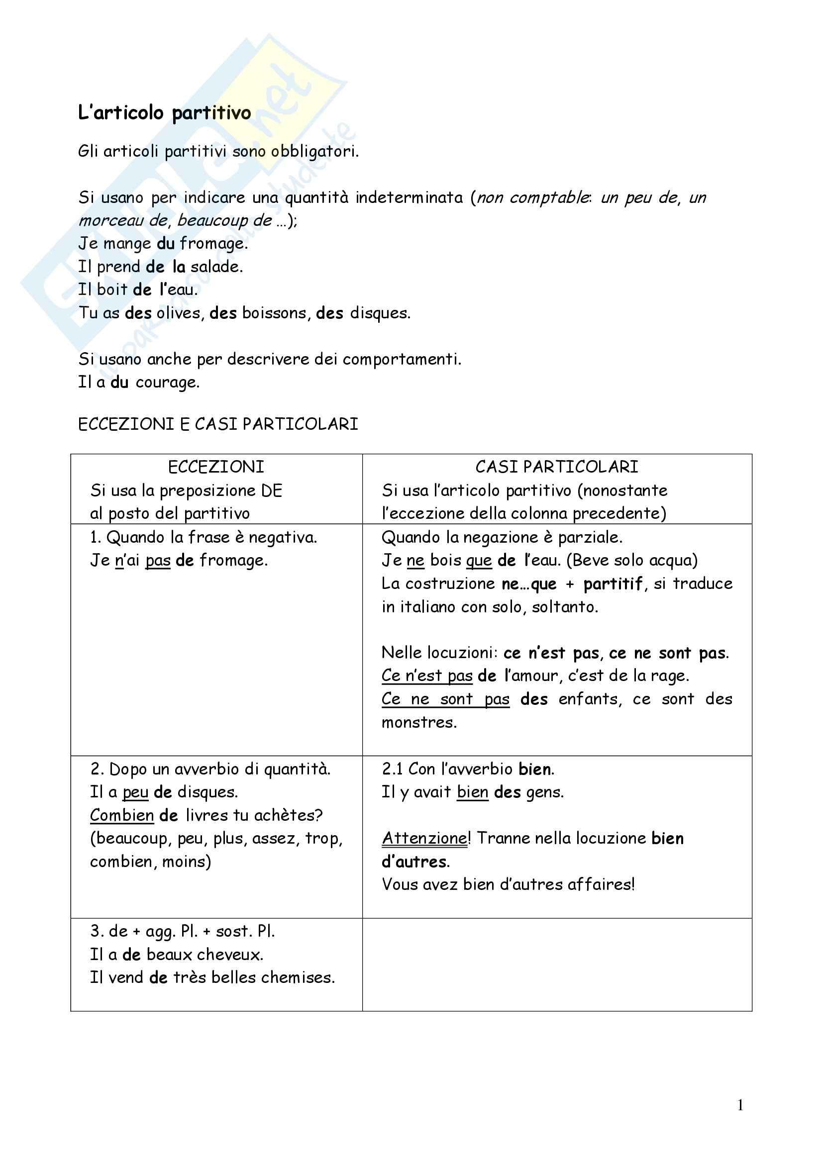 Lettorato di Lingua francese 1 - Partitivo