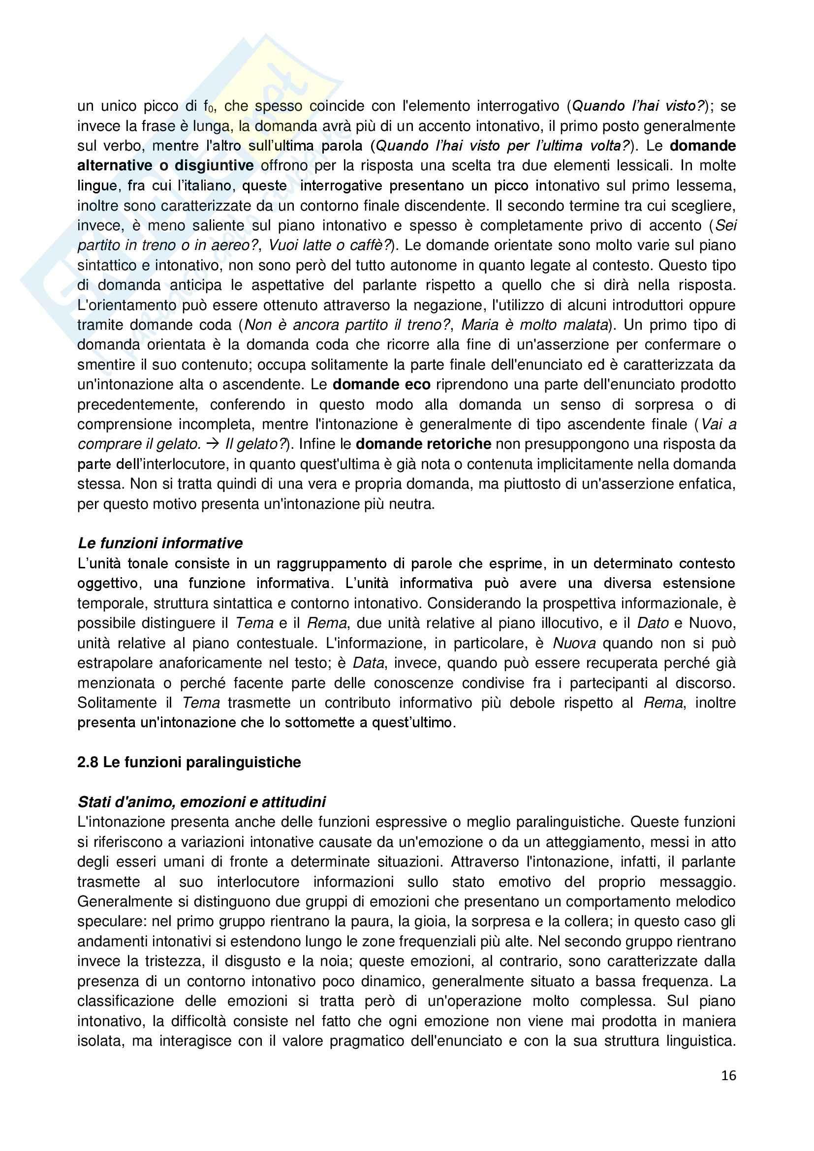 Riassunto esame Linguistica generale, prof. Sorianello, libro consigliato Prosodia, Sorianello Pag. 16