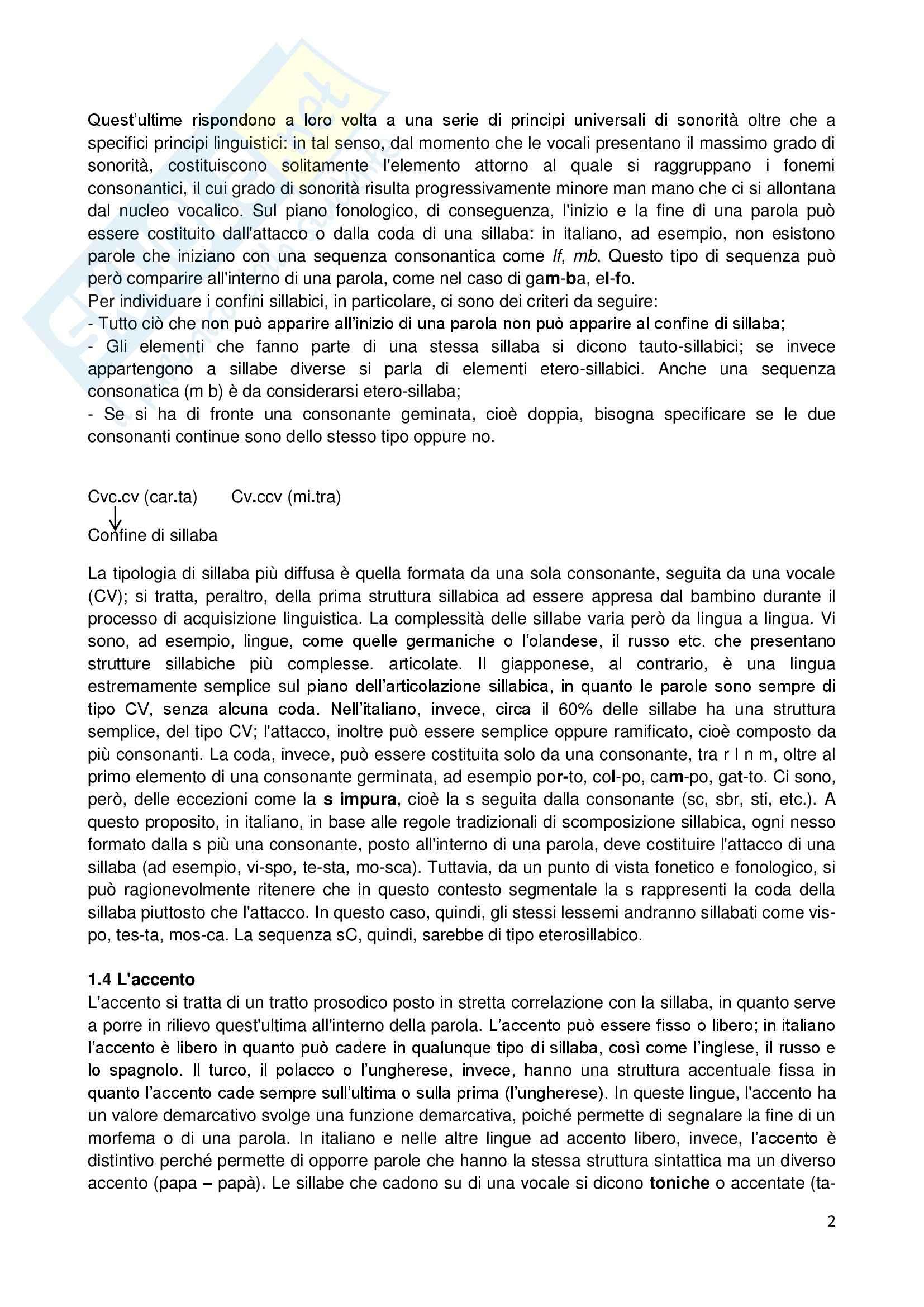 Riassunto esame Linguistica generale, prof. Sorianello, libro consigliato Prosodia, Sorianello Pag. 2