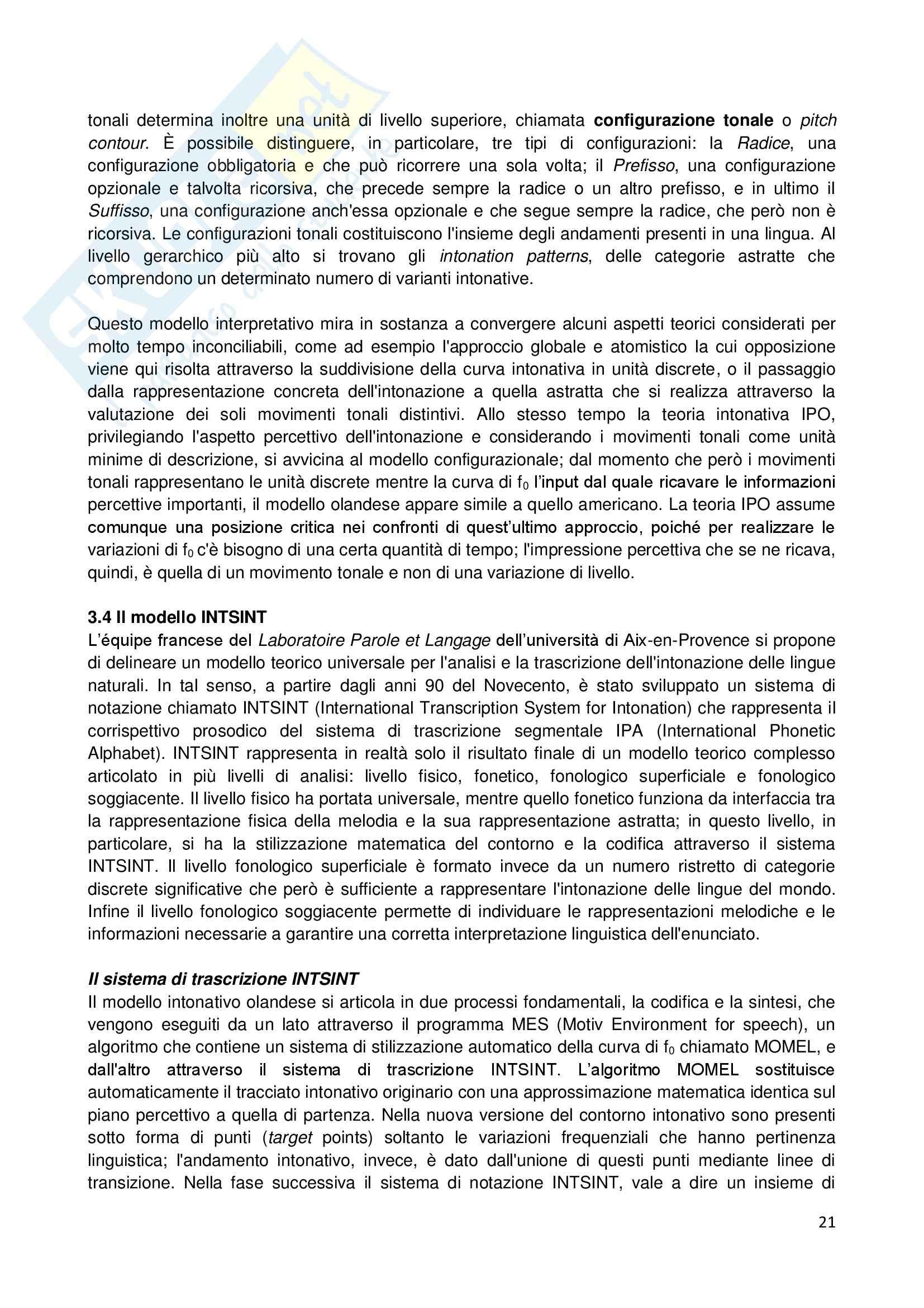 Riassunto esame Linguistica generale, prof. Sorianello, libro consigliato Prosodia, Sorianello Pag. 21