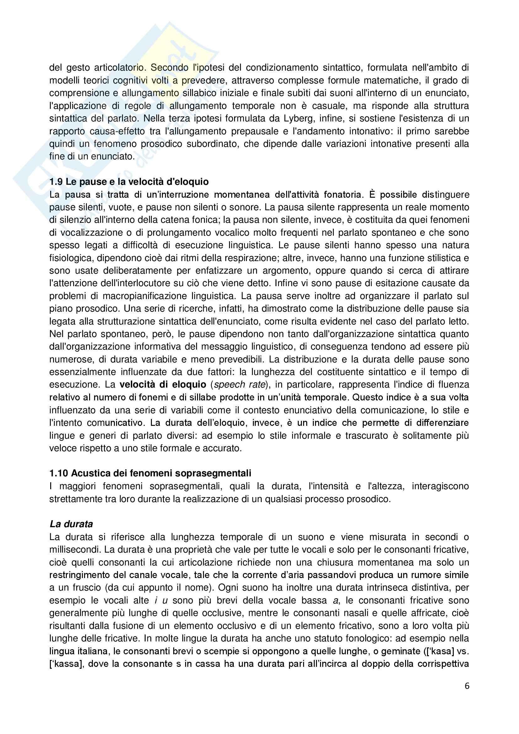 Riassunto esame Linguistica generale, prof. Sorianello, libro consigliato Prosodia, Sorianello Pag. 6