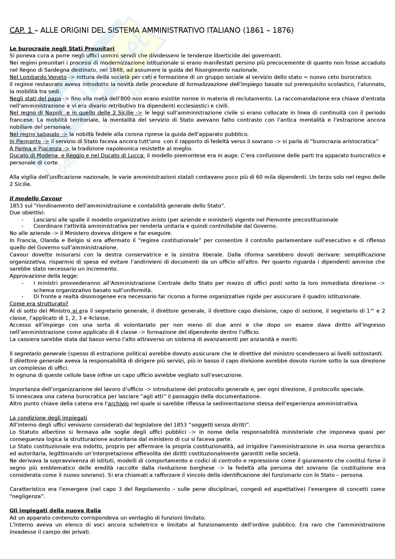 Riassunto esame Storia dell'amministrazione pubblica, prof. Meniconi, libro consigliato Storia dell'Amministrazione Pubblica, Melis