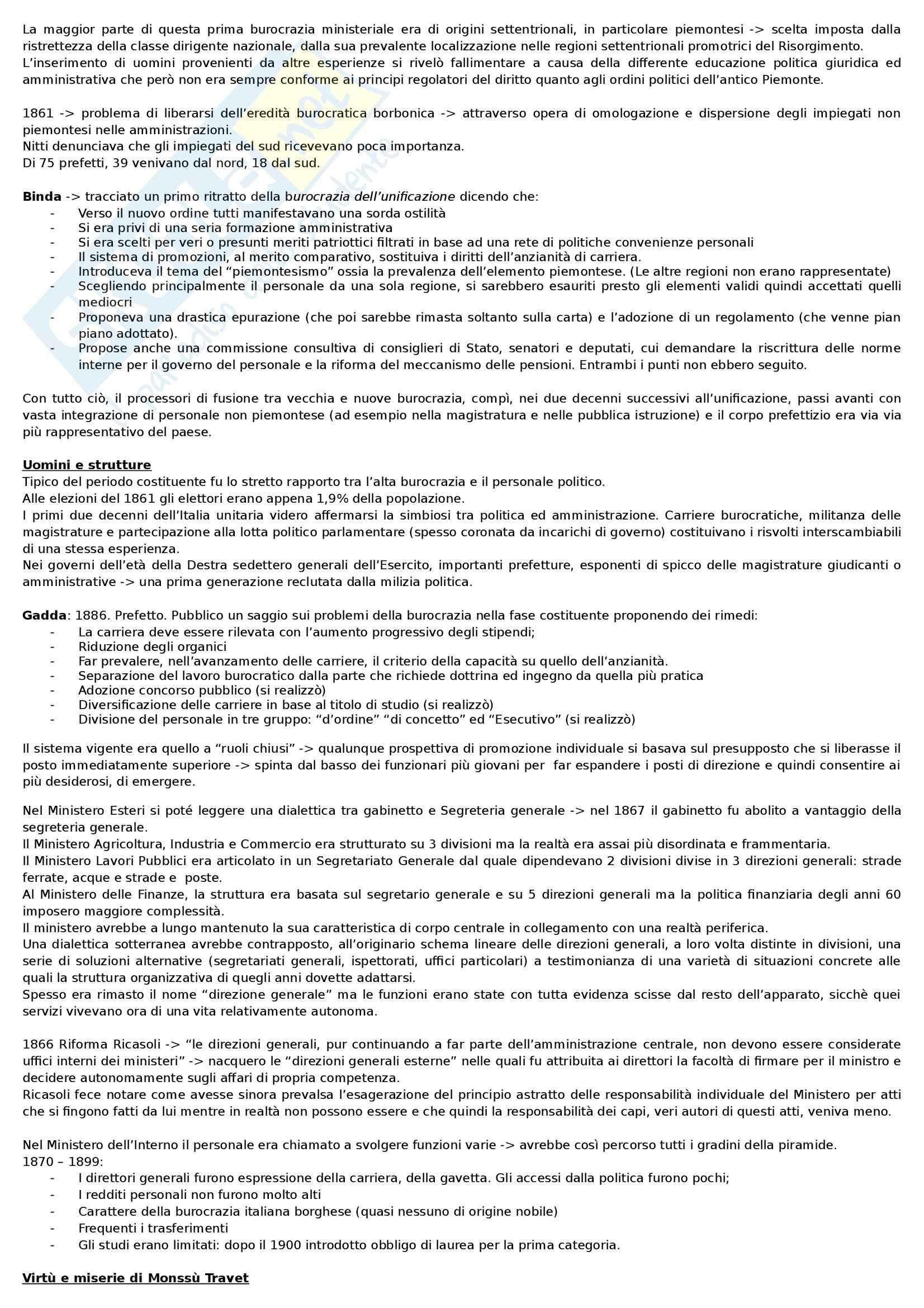 Riassunto esame Storia dell'amministrazione pubblica, prof. Meniconi, libro consigliato Storia dell'Amministrazione Pubblica, Melis Pag. 2