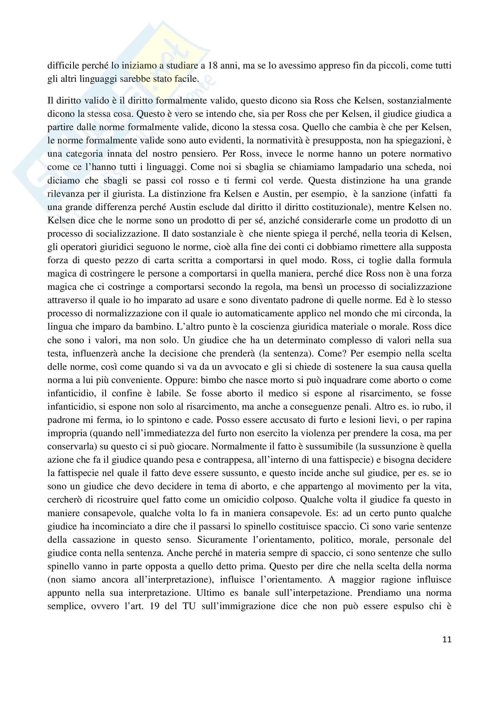 Riassunto esame Filosofia del diritto, prof. Santoro, libro consigliato Filosofia del diritto, Ross Pag. 11