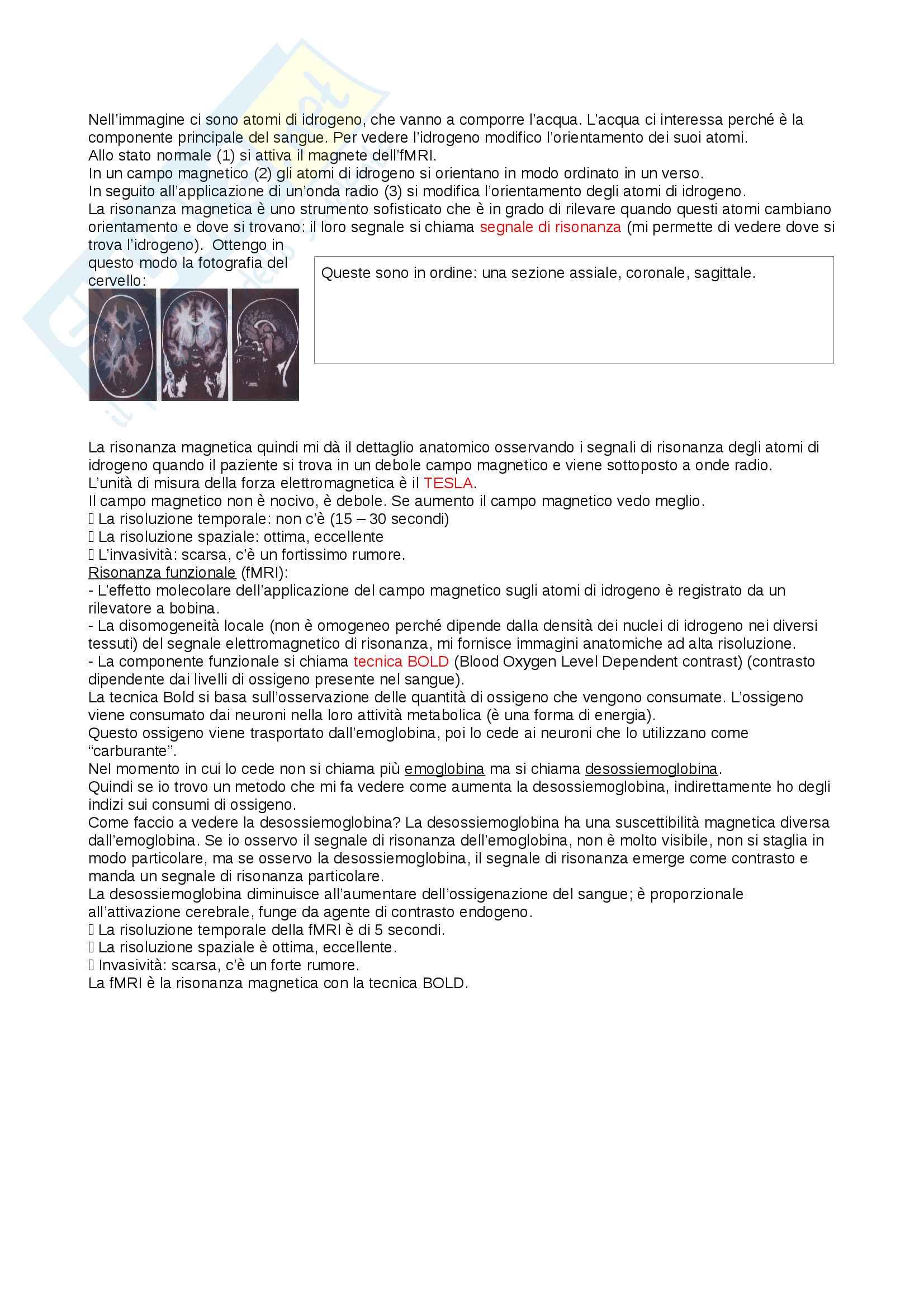 Riassunto esame psicologia fisiologica, prof. Proverbio, libro consigliato Neuroscienze cognitive, Gazzaniga Pag. 16