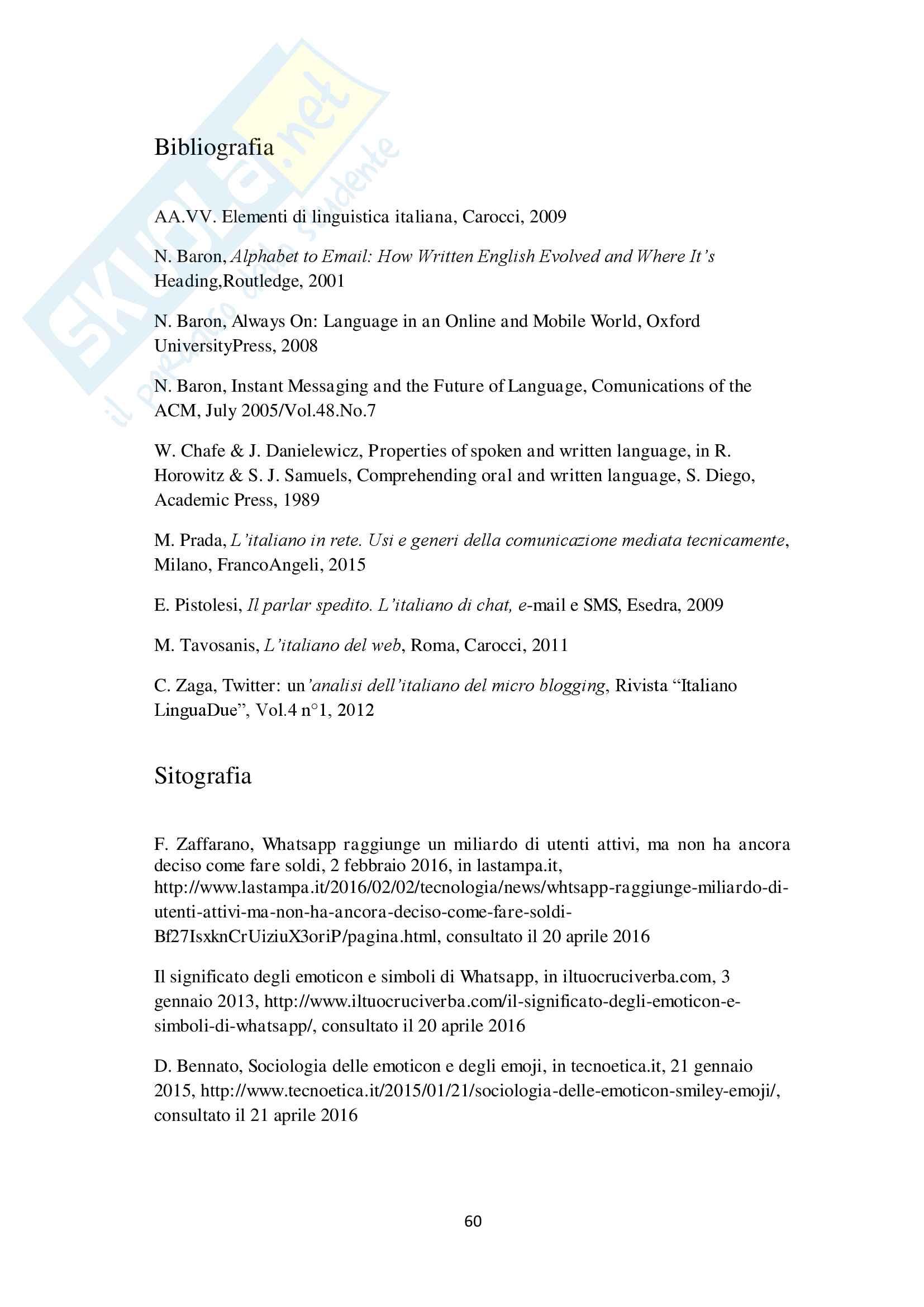 Analisi linguistica, testuale e comunicativa di un corpus giovanile di messaggistica elettronica Pag. 61