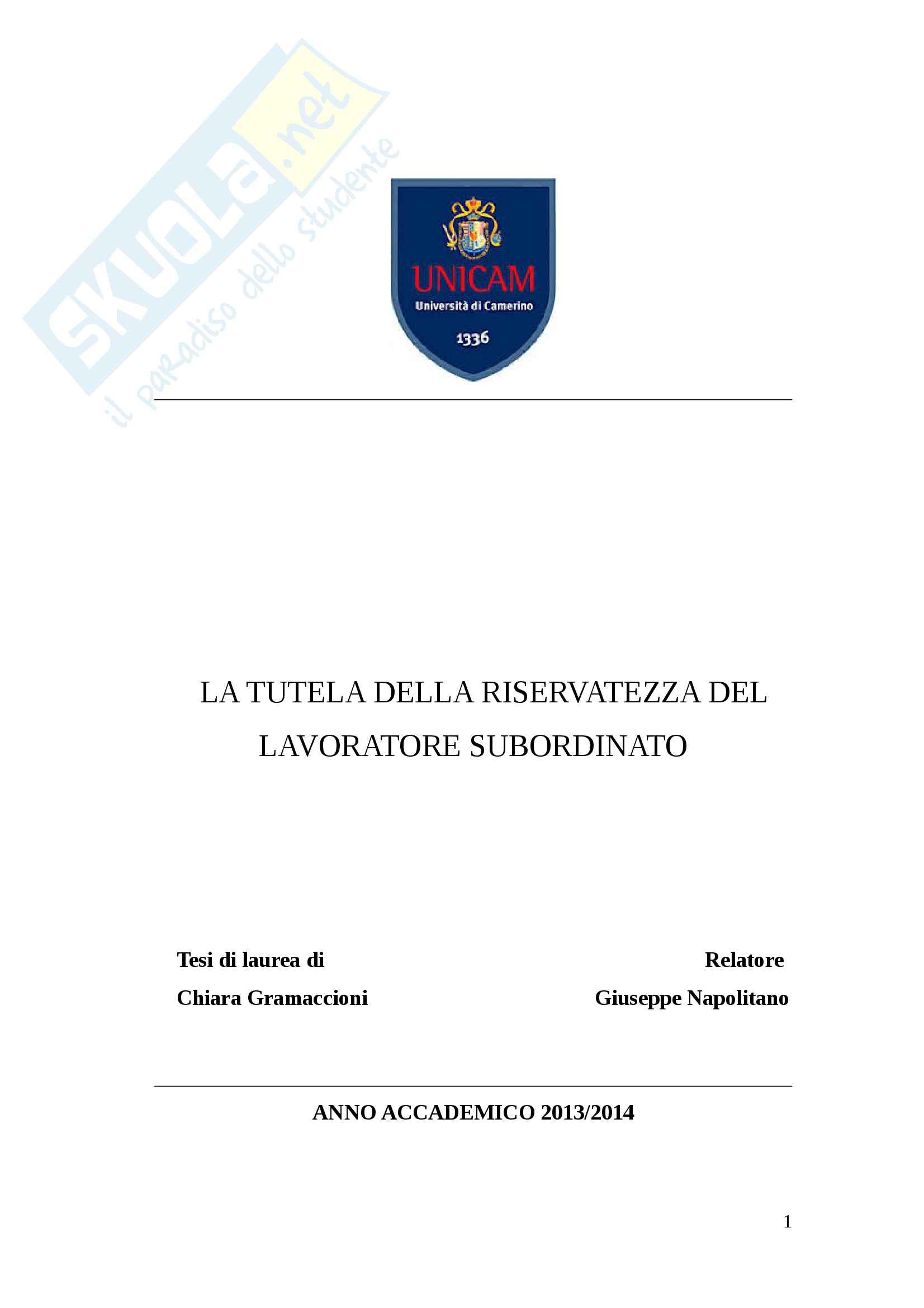 tesi G. Napolitano Diritto del lavoro