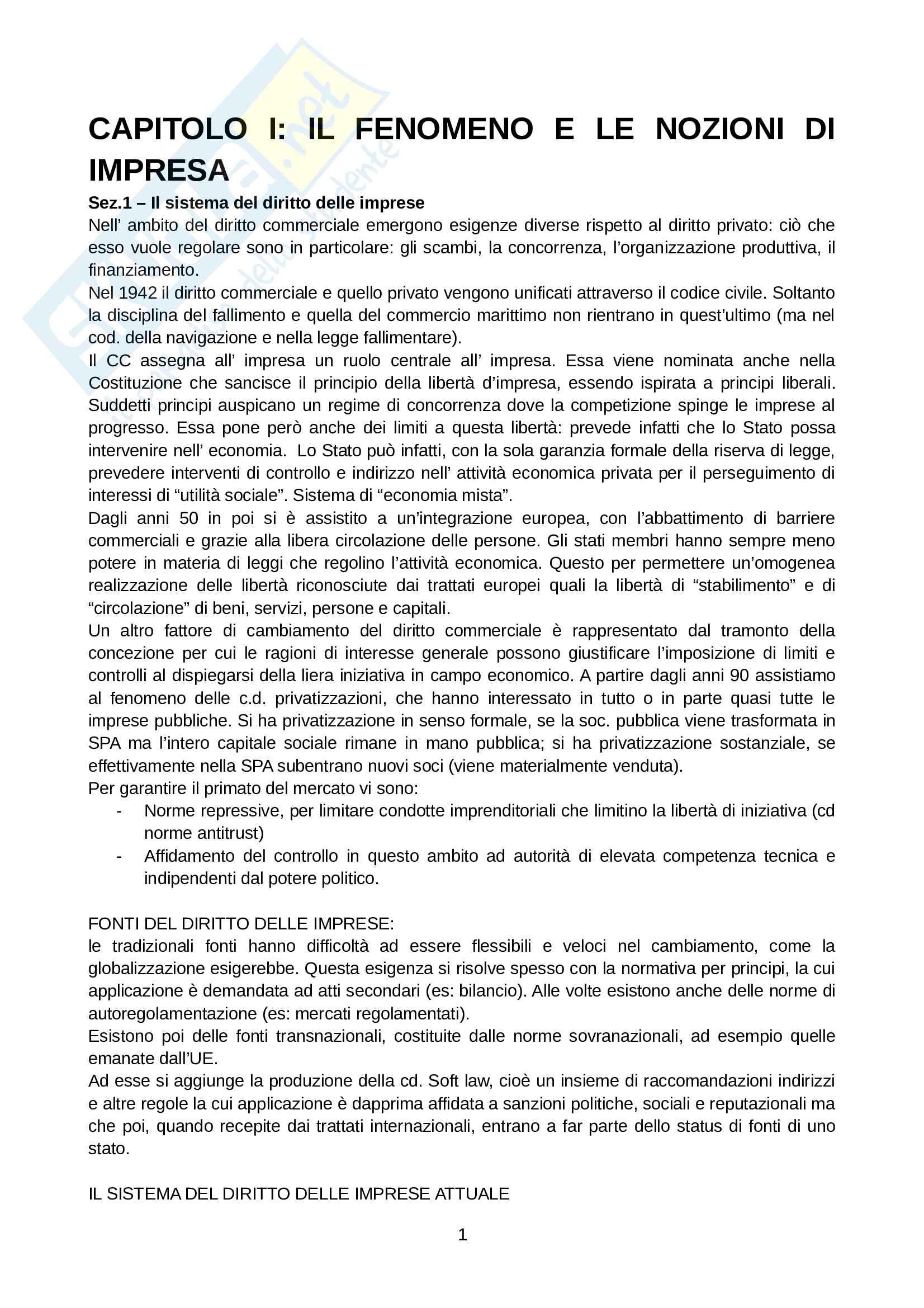 Riassunto esame Diritto Commerciale, prof. Munari, libro consigliato Diritto delle Imprese, Giuffrè Pag. 1