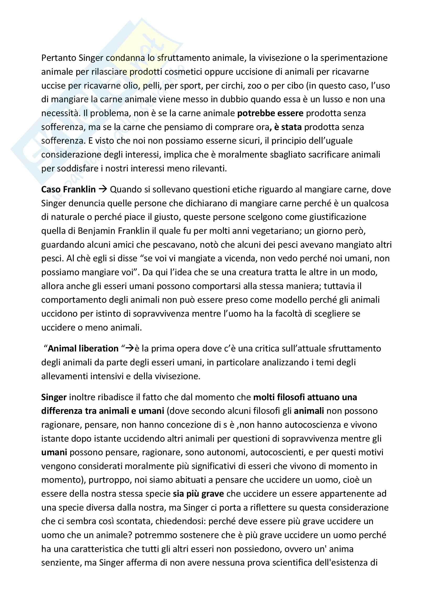 """Riassunto esame Filosofia Morale, prof. Savignano, libro consigliato """"Etica pratica"""", Peter Singer Pag. 6"""