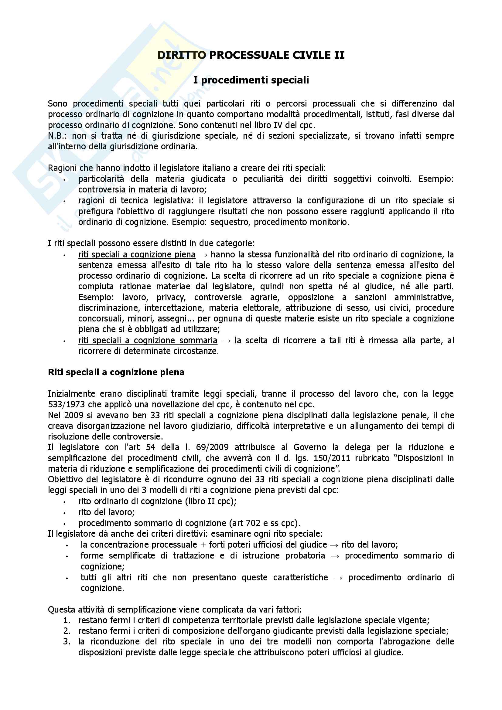 Diritto processuale civile II - procedimenti speciali