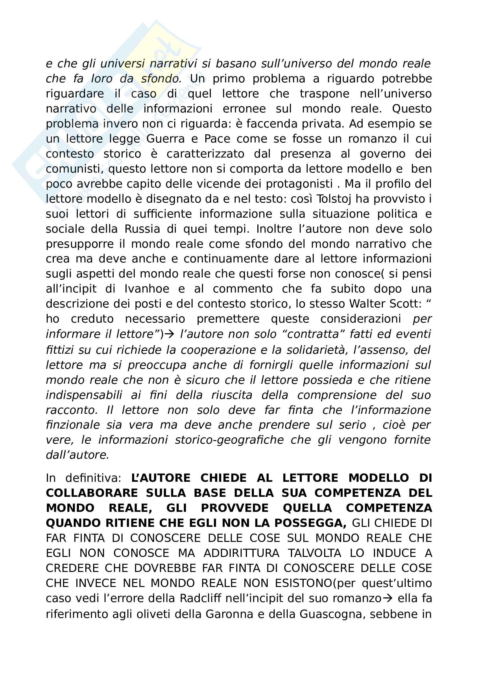 Riassunto esame Semiotica e analisi del testo narrativo, prof. Pisanty, libro consigliato Sei passeggiate nei boschi narrativi, Eco Pag. 16