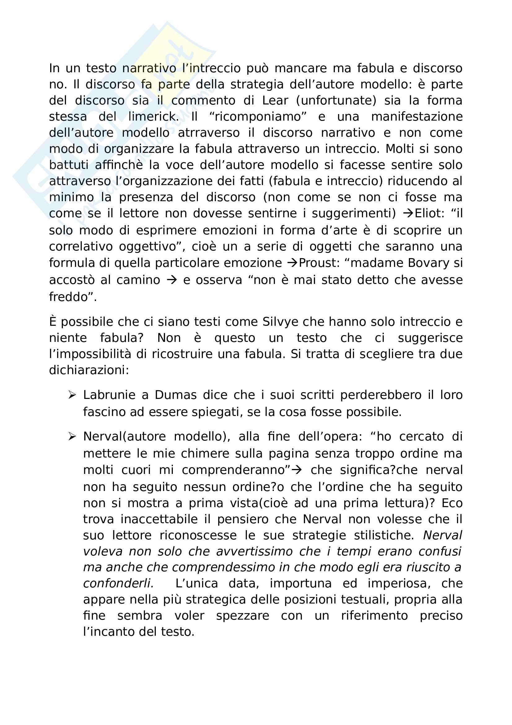 Riassunto esame Semiotica e analisi del testo narrativo, prof. Pisanty, libro consigliato Sei passeggiate nei boschi narrativi, Eco Pag. 2