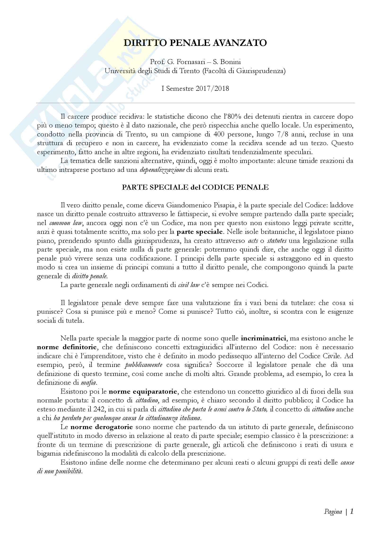 Diritto penale avanzato - Appunti Prof. Fornasari