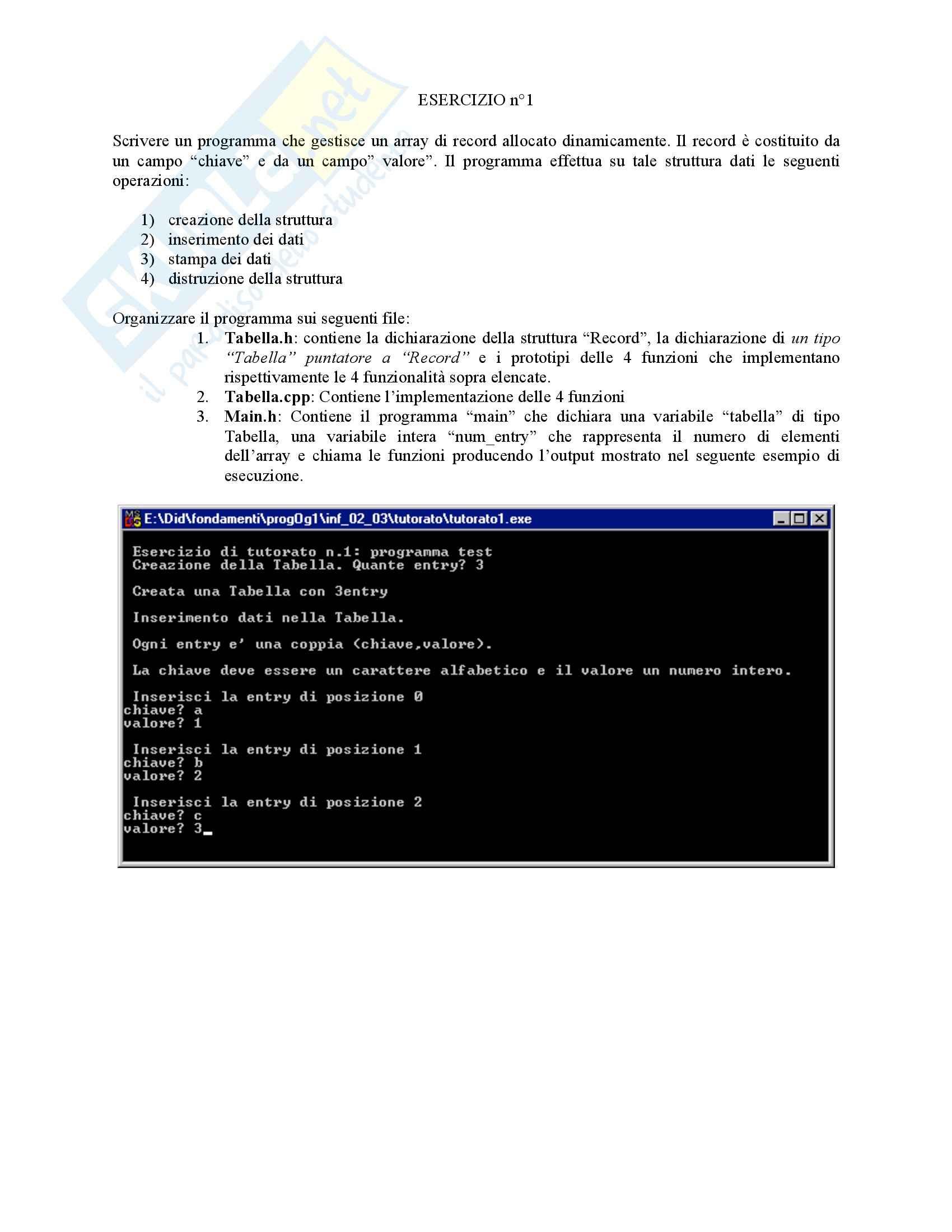 Programmazione I - tabella dinamica record