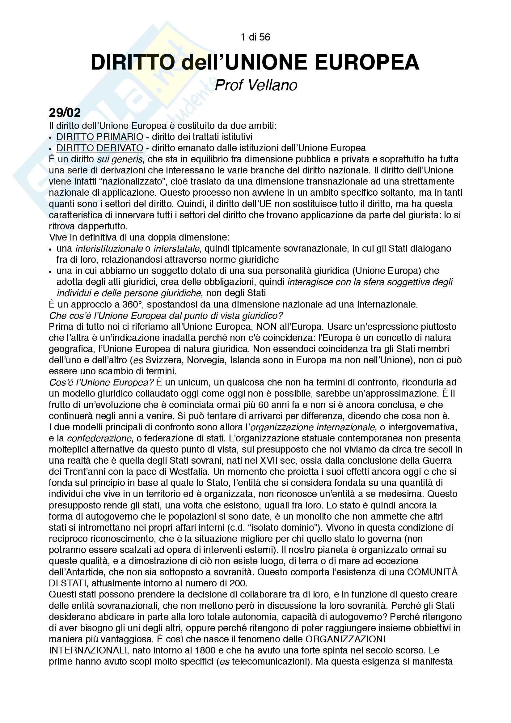 Appunti integrali e aggiornati di diritto dell'Unione Europea, docente Vellano