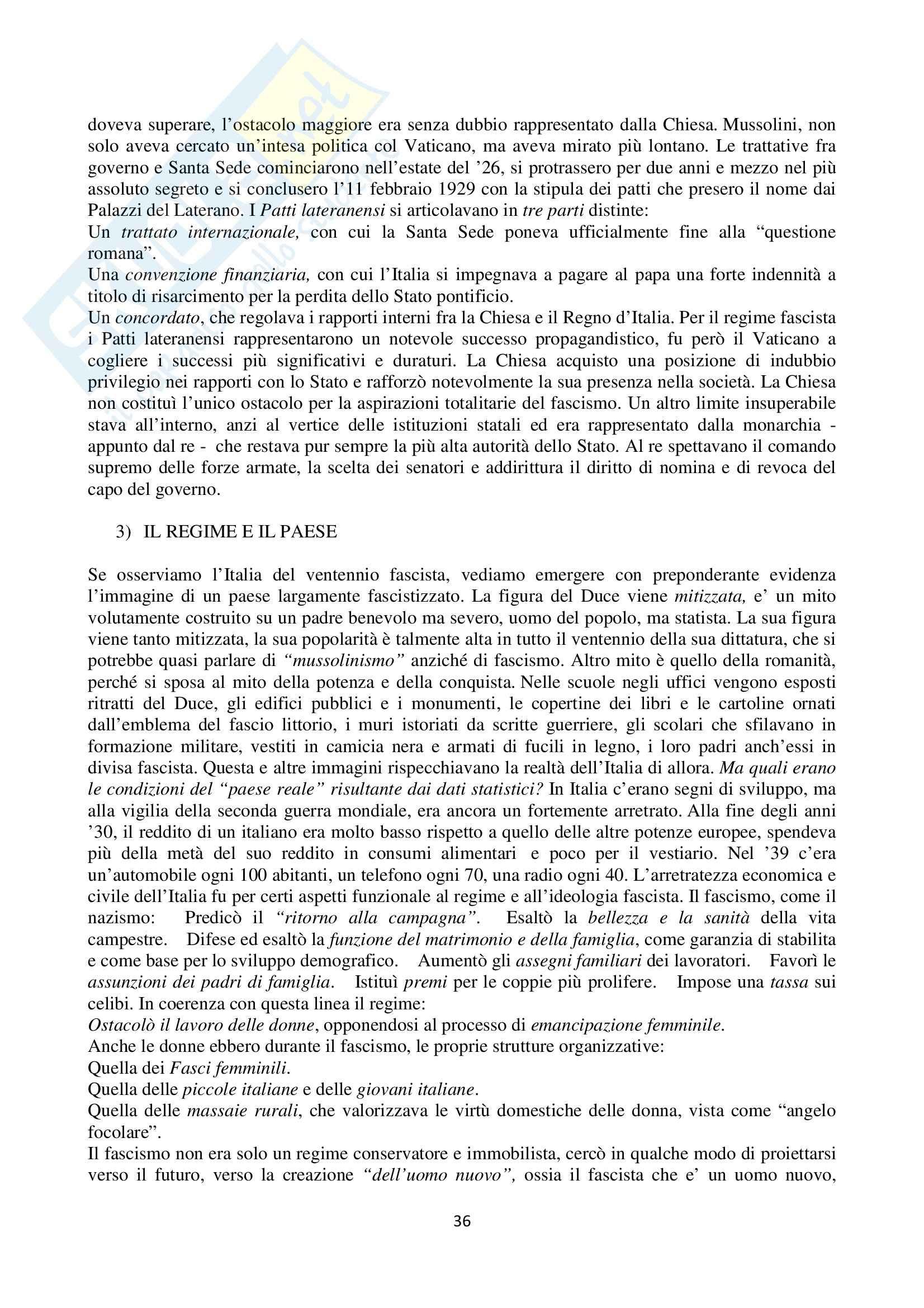 Riassunto esame Storia Contemporanea, prof. Pira, libro consigliato Storia Contemporanea, Sabbatucci Pag. 36