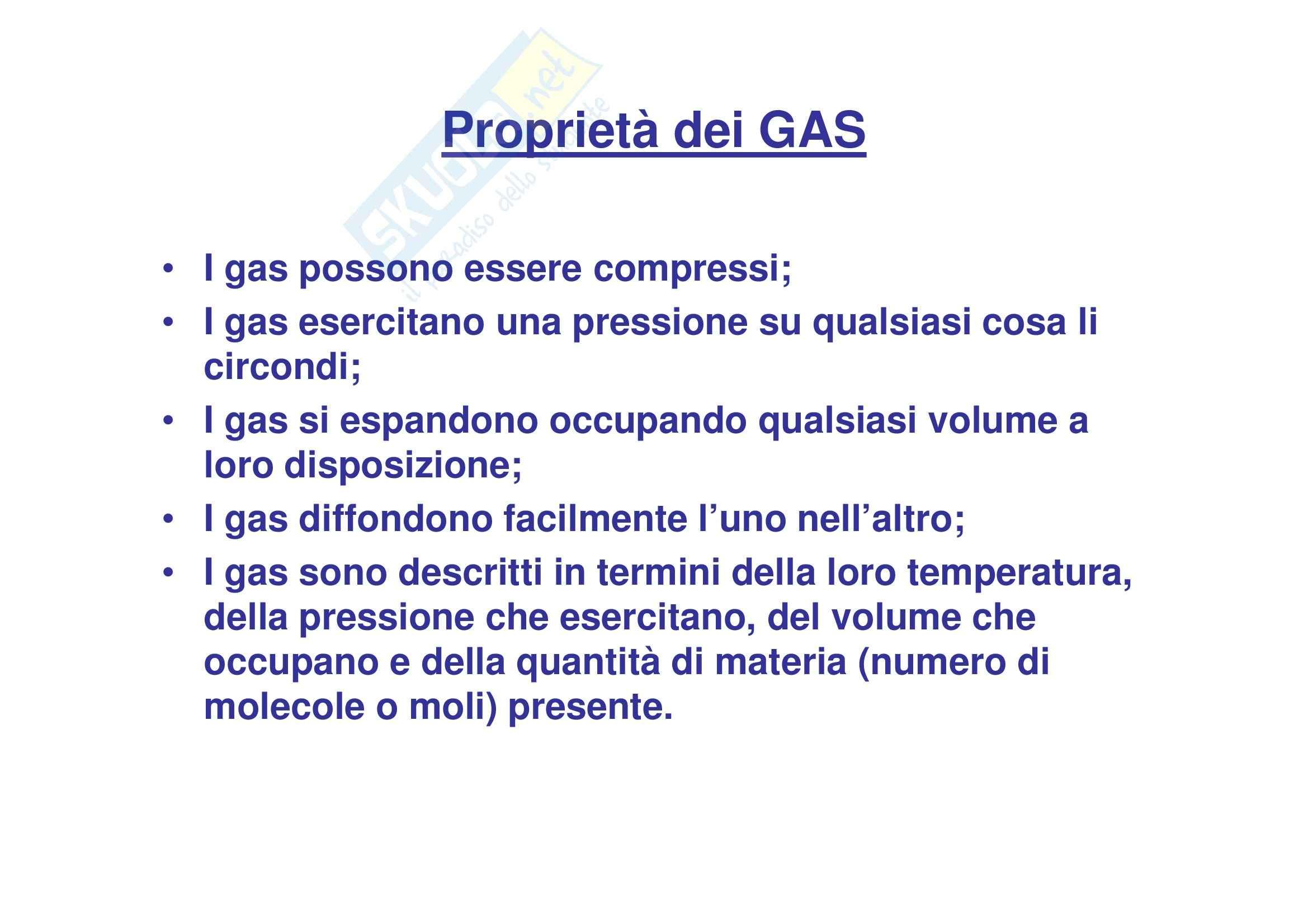 Propedeutica biochimica - proprietà dei gas