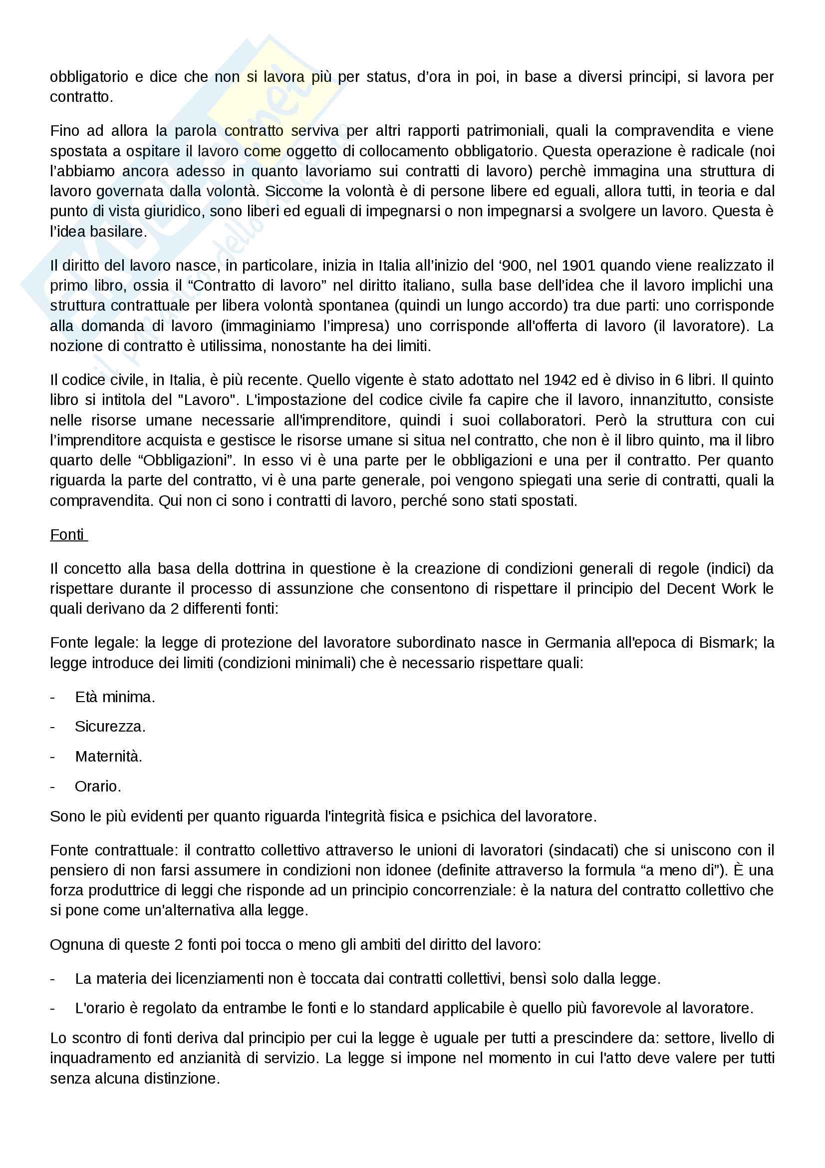 """Riassunto esame """"Diritto del Lavoro"""", Prof. Occhino Antonella, Libro consigliato """"Diritto del lavoro, Vol. II - Il rapporto di lavoro subordinato"""", Carinci, De Luca Tamajo, Tosi, Treu - Parte 1 Pag. 2"""