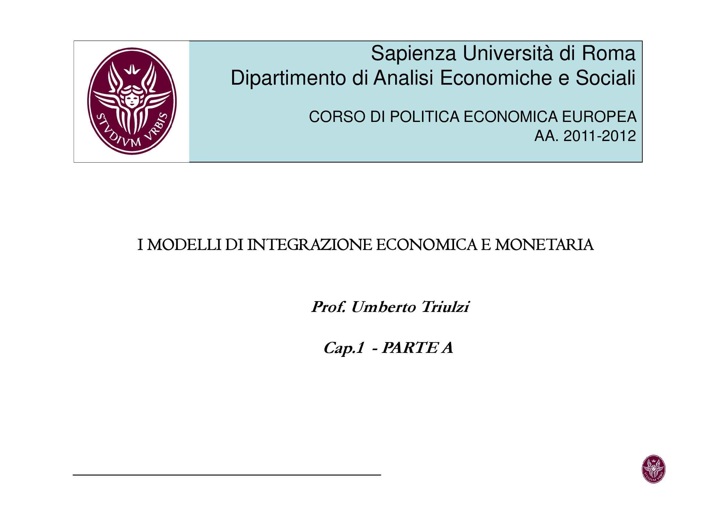 Integrazione economica e monetaria - Modelli