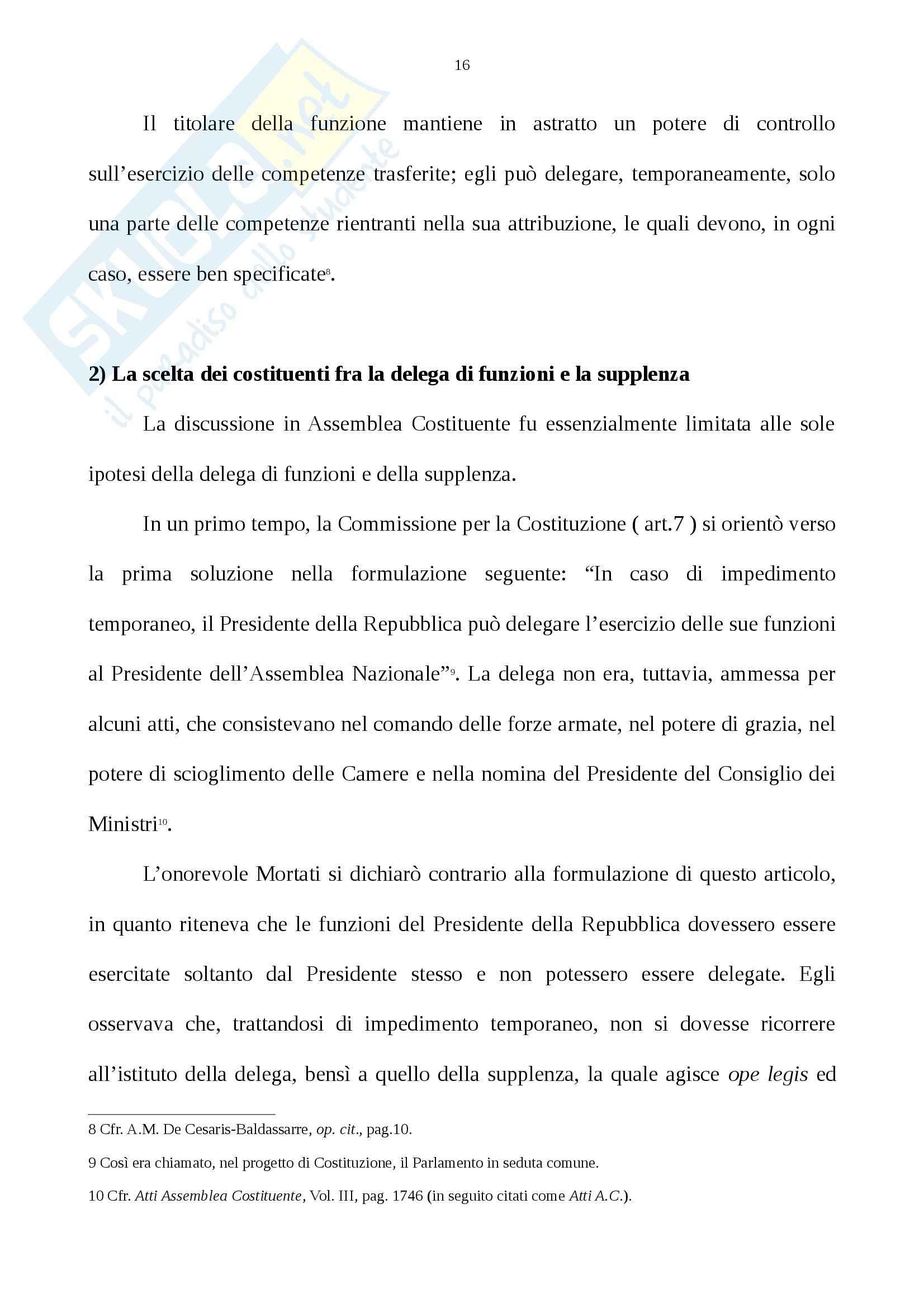 Tesi, La supplenza del Presidente della Repubblica Nell'ordinamento costituzionale italiano Pag. 16