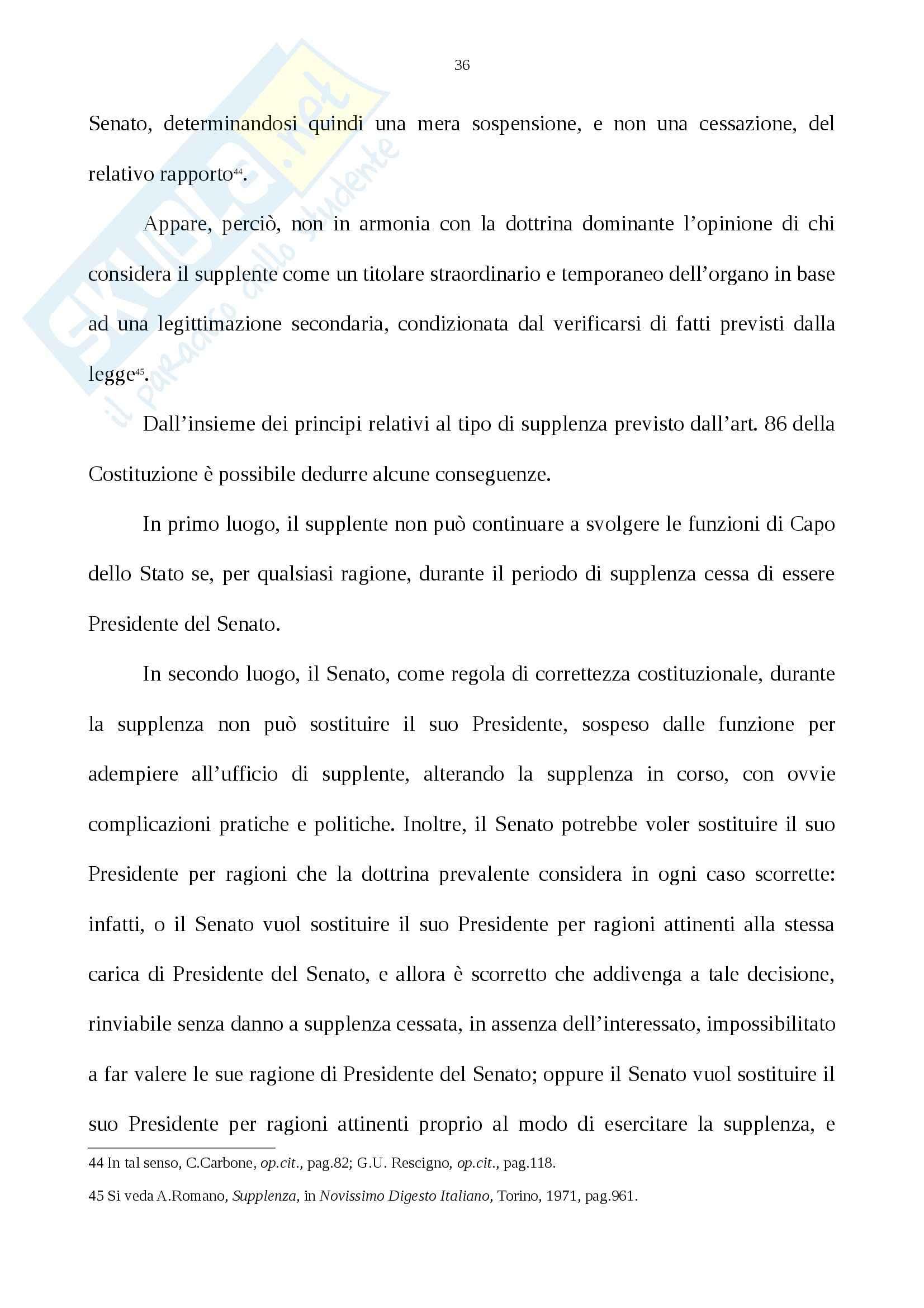 Tesi, La supplenza del Presidente della Repubblica Nell'ordinamento costituzionale italiano Pag. 36