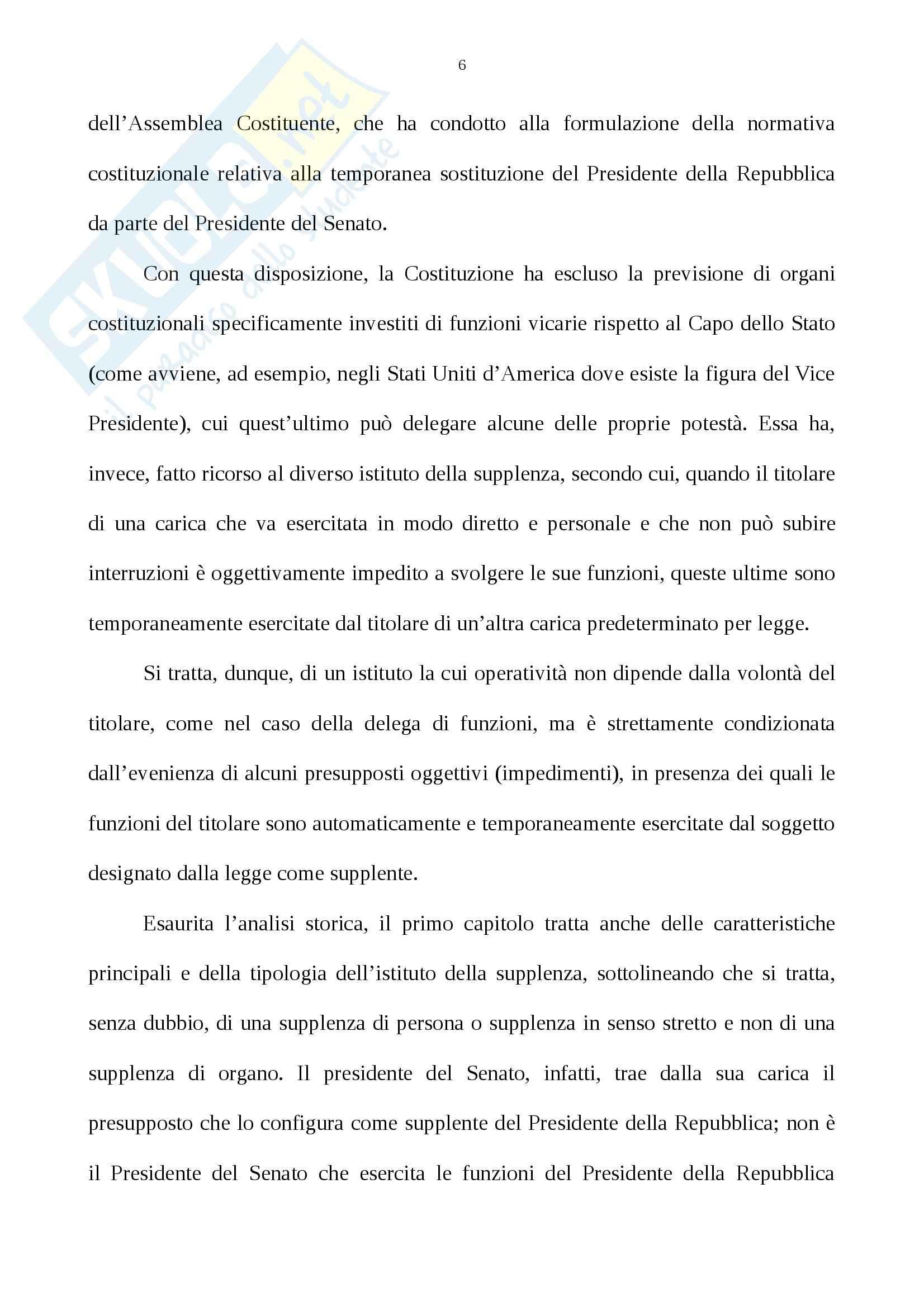 Tesi, La supplenza del Presidente della Repubblica Nell'ordinamento costituzionale italiano Pag. 6