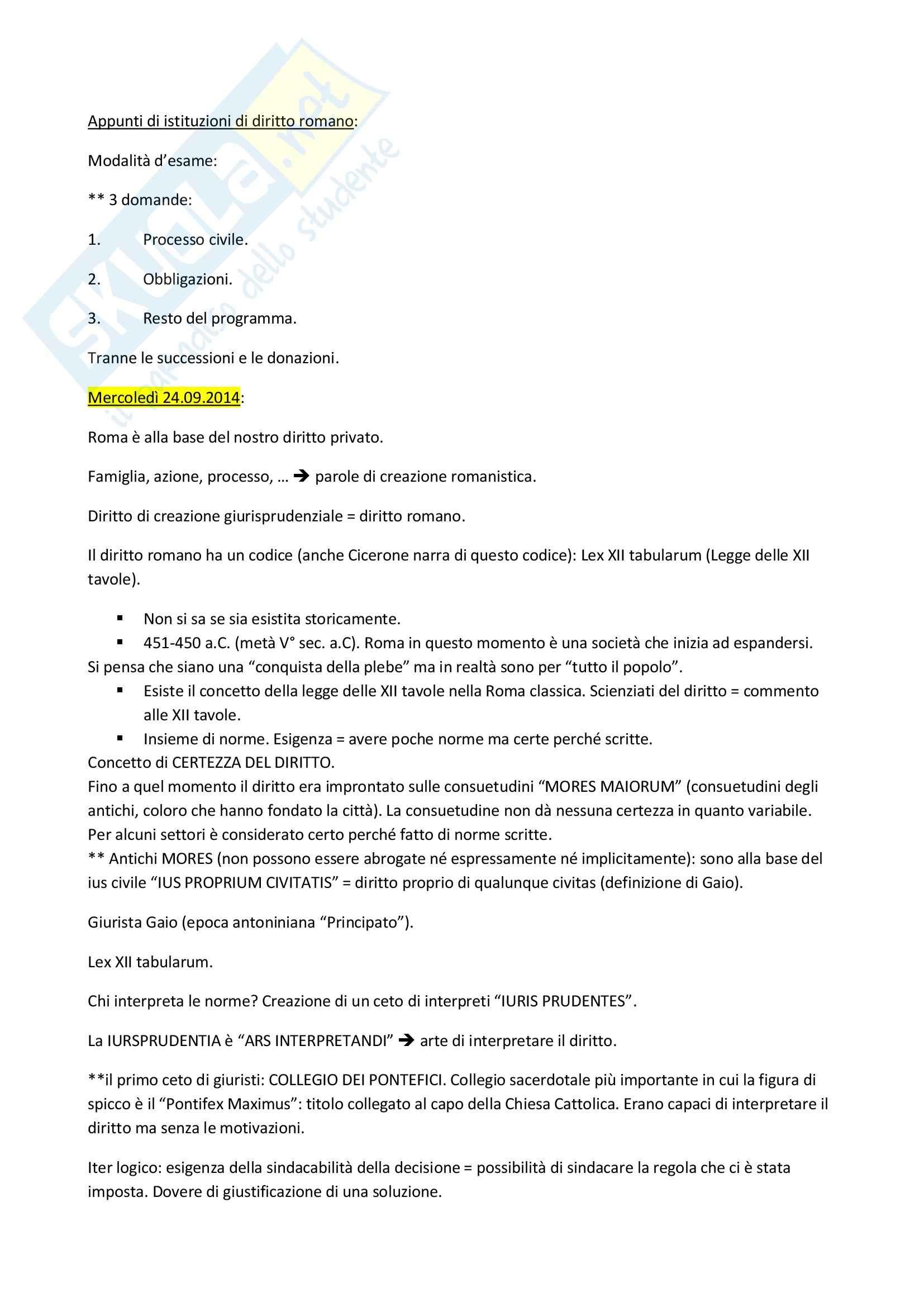 Appunti di istituzioni di diritto romano completi, prof. Miglietta (Unitn)