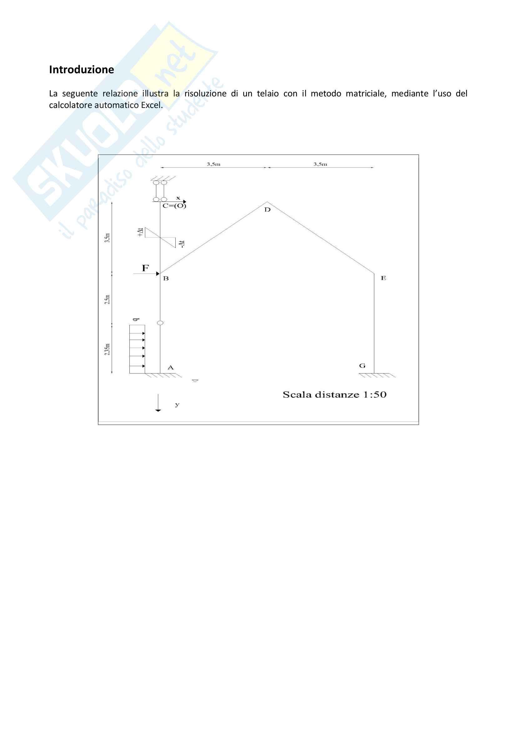Risoluzione di un Telaio con metodo matriciale