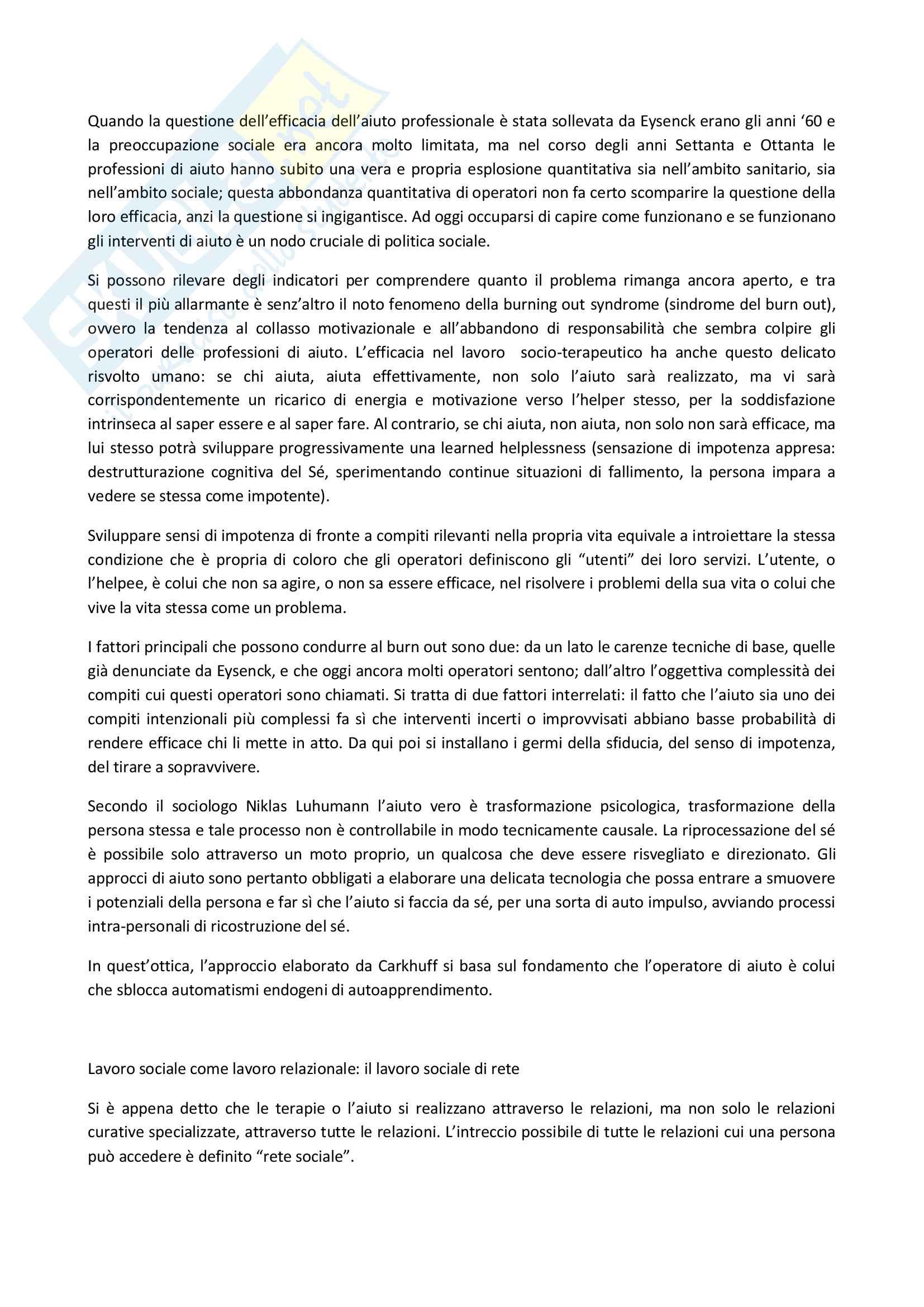 Riassunto esame Psicologia dell'educazione e della formazione in una prospettiva europea, prof. Pallini, libro consigliato L'arte di Aiutare, Carkhuff Pag. 2