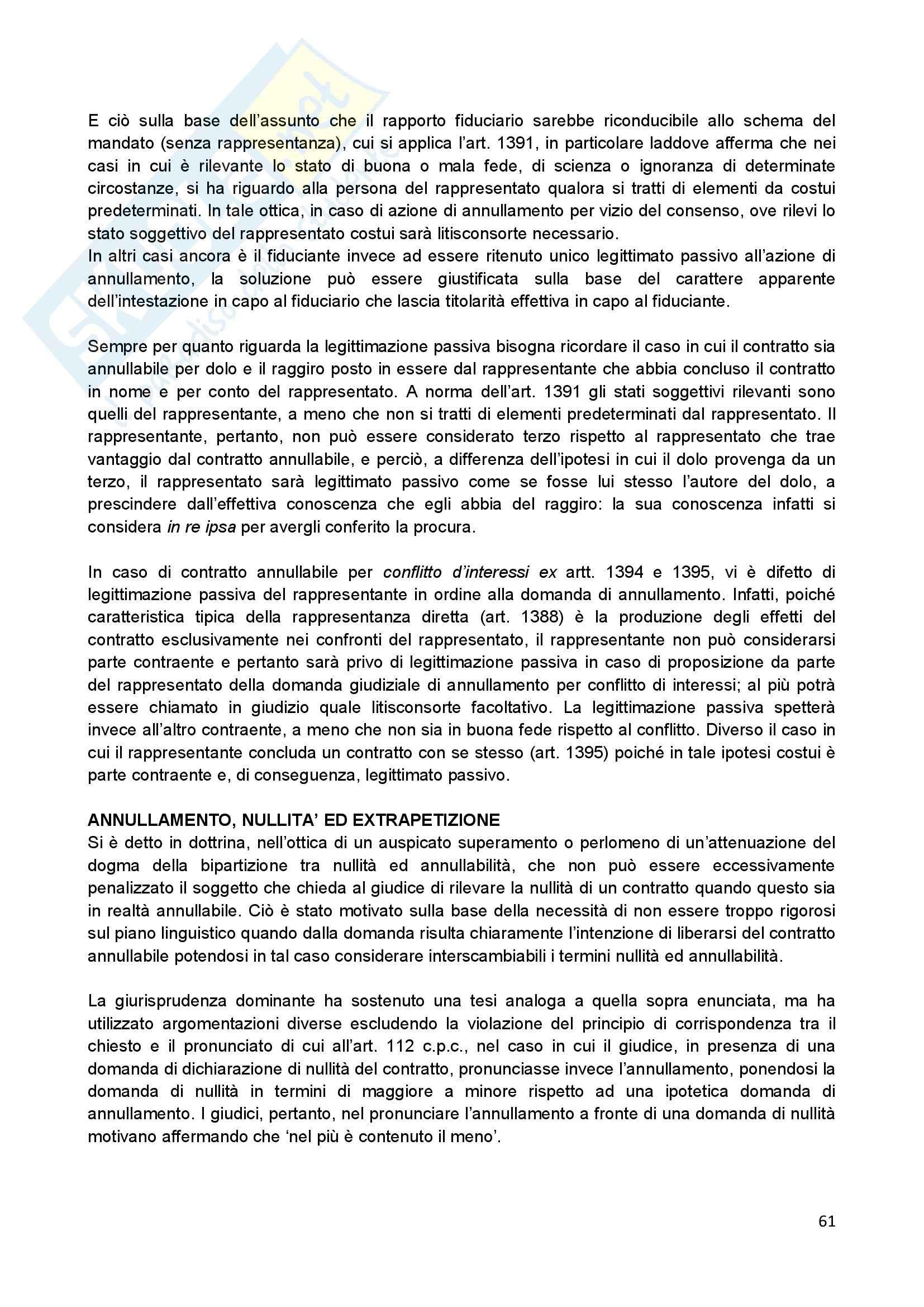 Riassunto esame Diritto Civile II, prof. Scannicchio, libro consigliato Trattato del Contratto, Roppo Pag. 61
