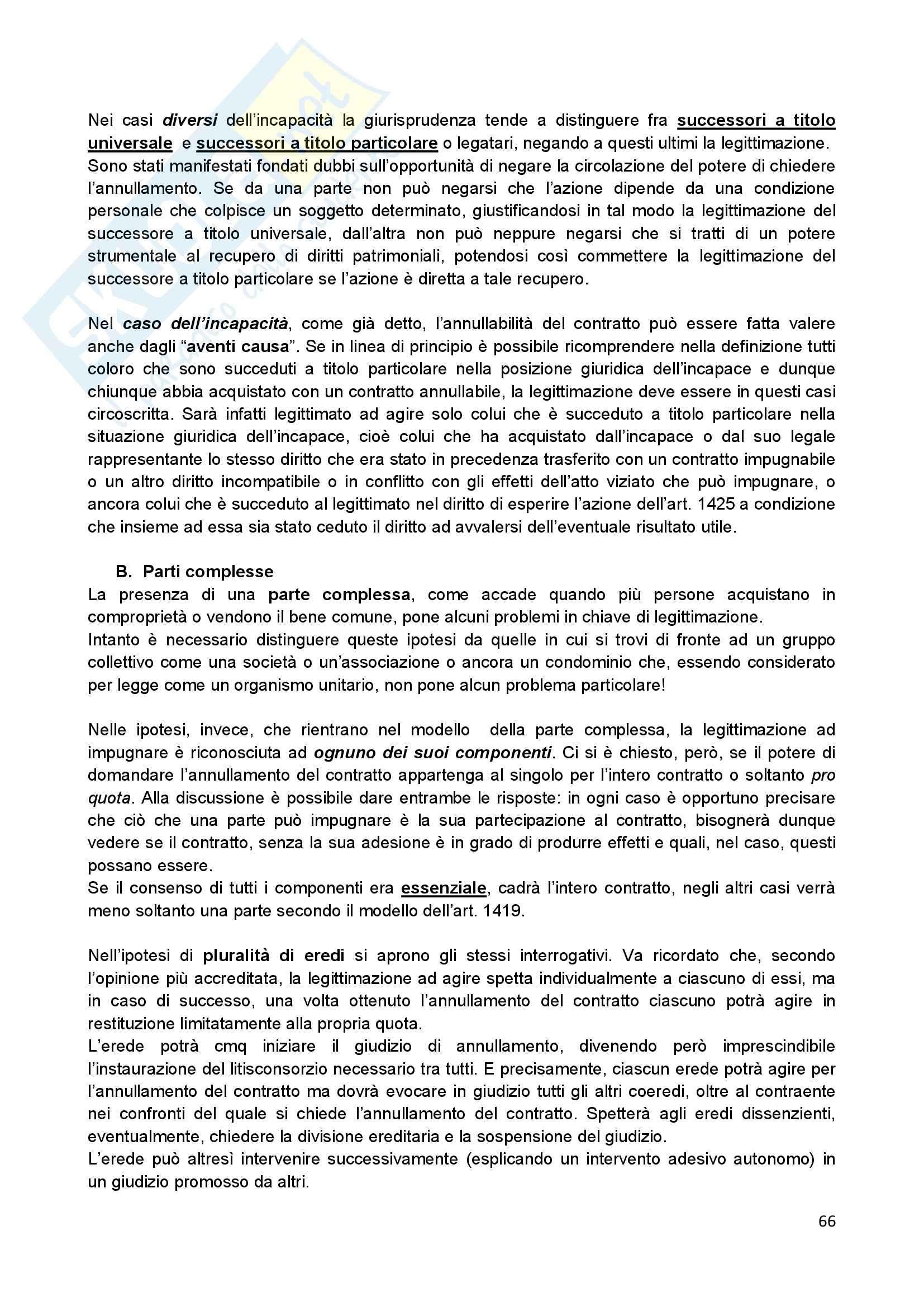 Riassunto esame Diritto Civile II, prof. Scannicchio, libro consigliato Trattato del Contratto, Roppo Pag. 66