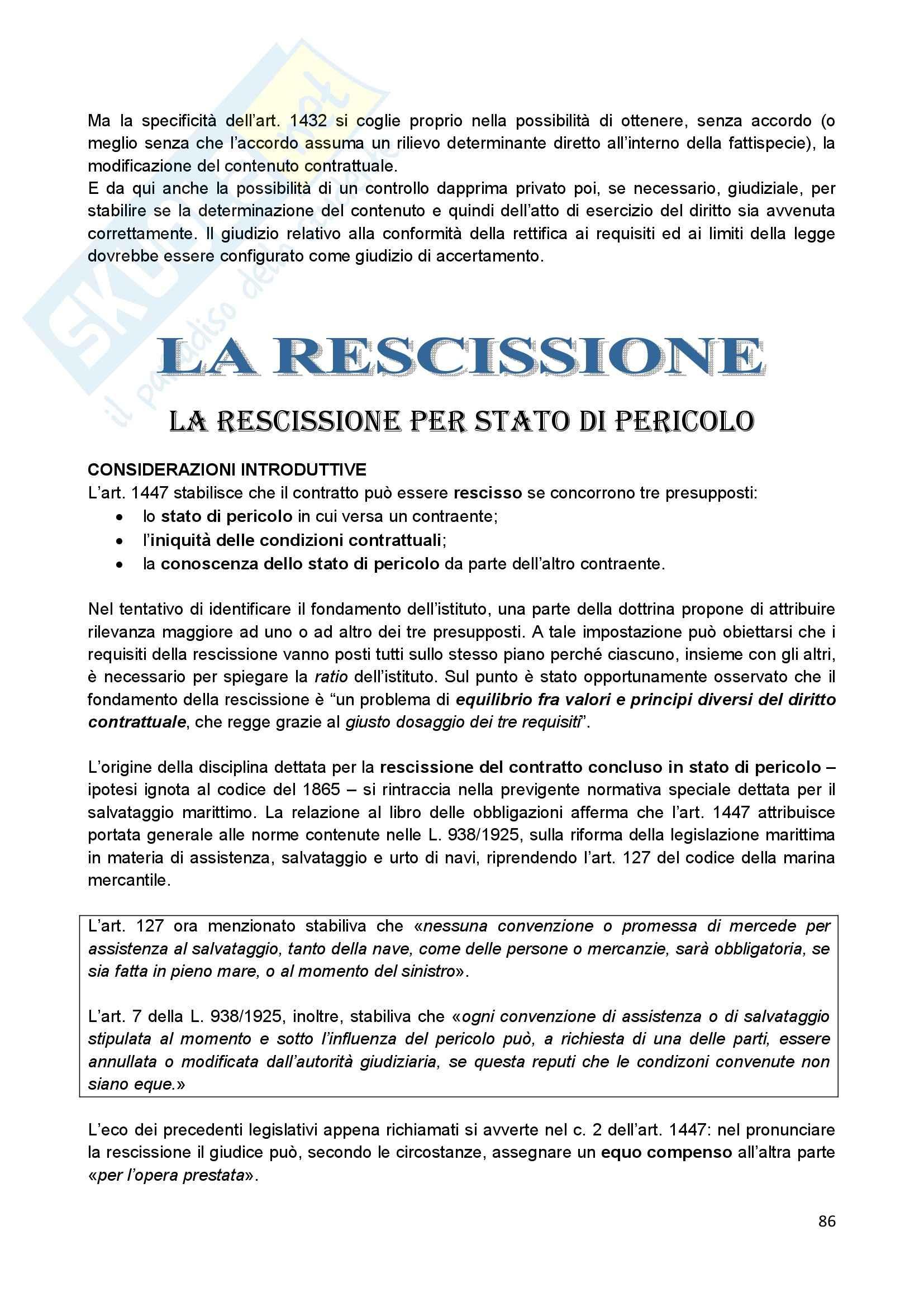 Riassunto esame Diritto Civile II, prof. Scannicchio, libro consigliato Trattato del Contratto, Roppo Pag. 86