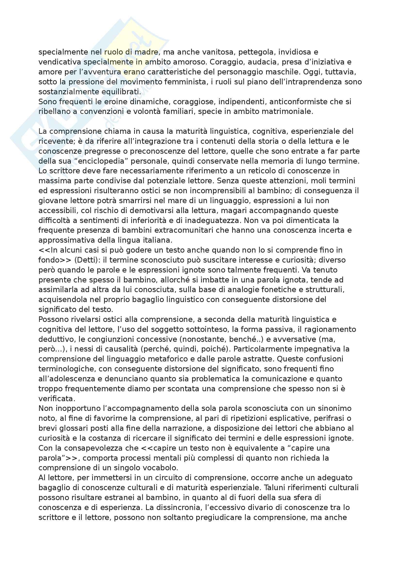 Riassunto esame Letteratura per l'infanzia, Prof. Giancane, libro consigliato Pedagogia della letteratura giovanile, Nobile Pag. 2
