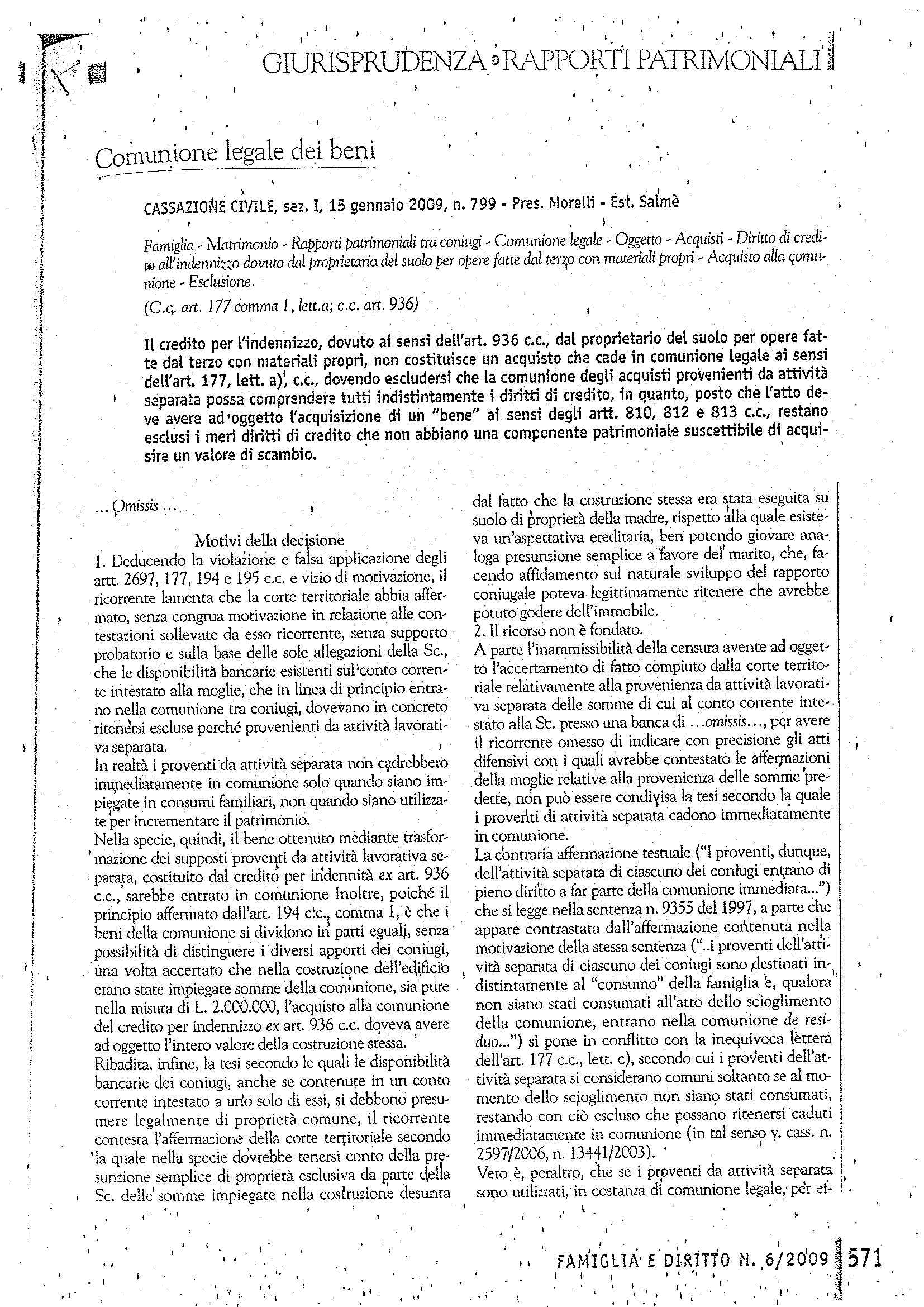 Comunione legale - C. Cass. n. 799/09 Pag. 1