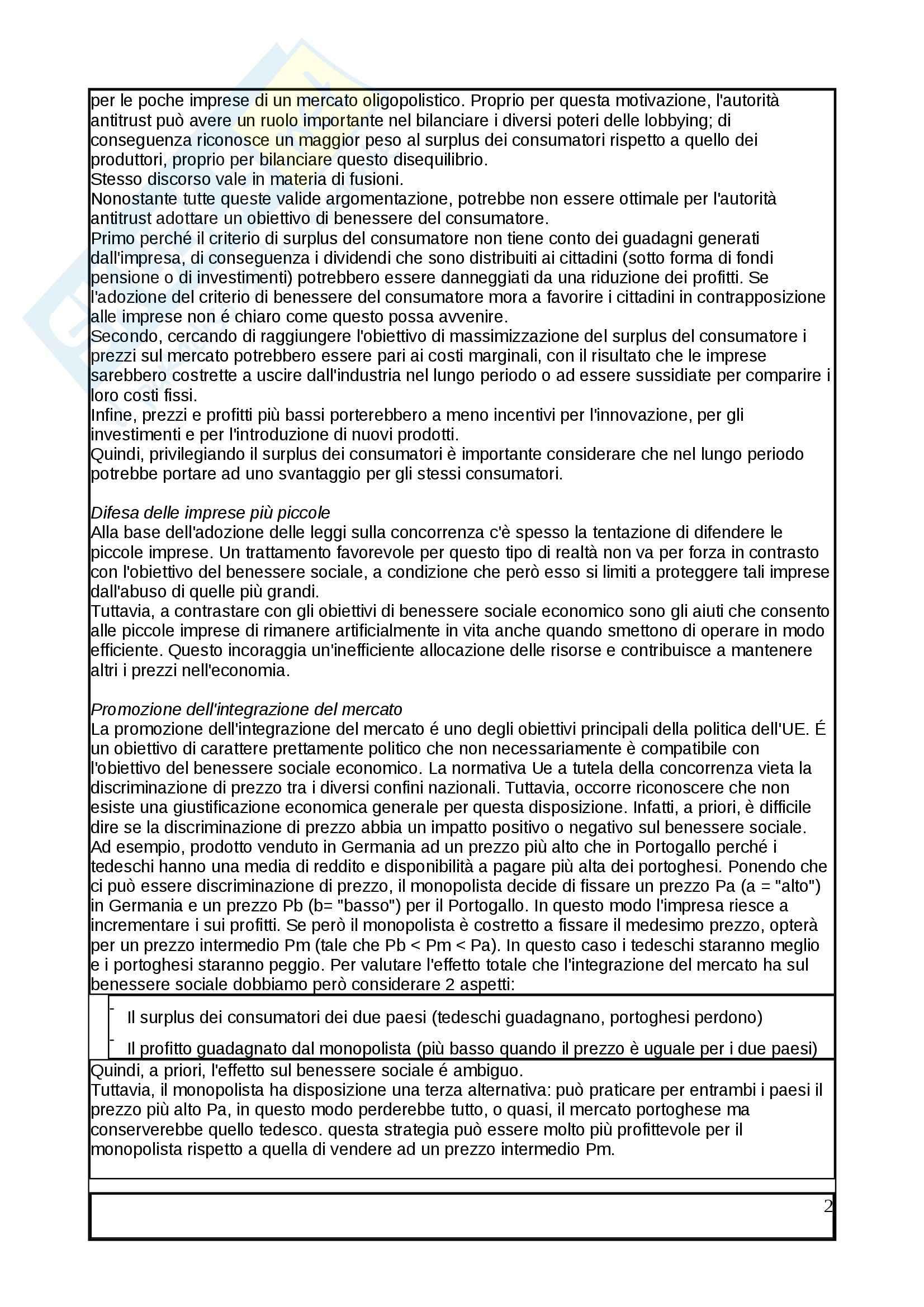Riassunto esame Mercato, concorrenza e regolamentazione, prof. Pontarollo, libro consigliato Mercato, concorrenza e regolamentazione, Pontarollo Pag. 2