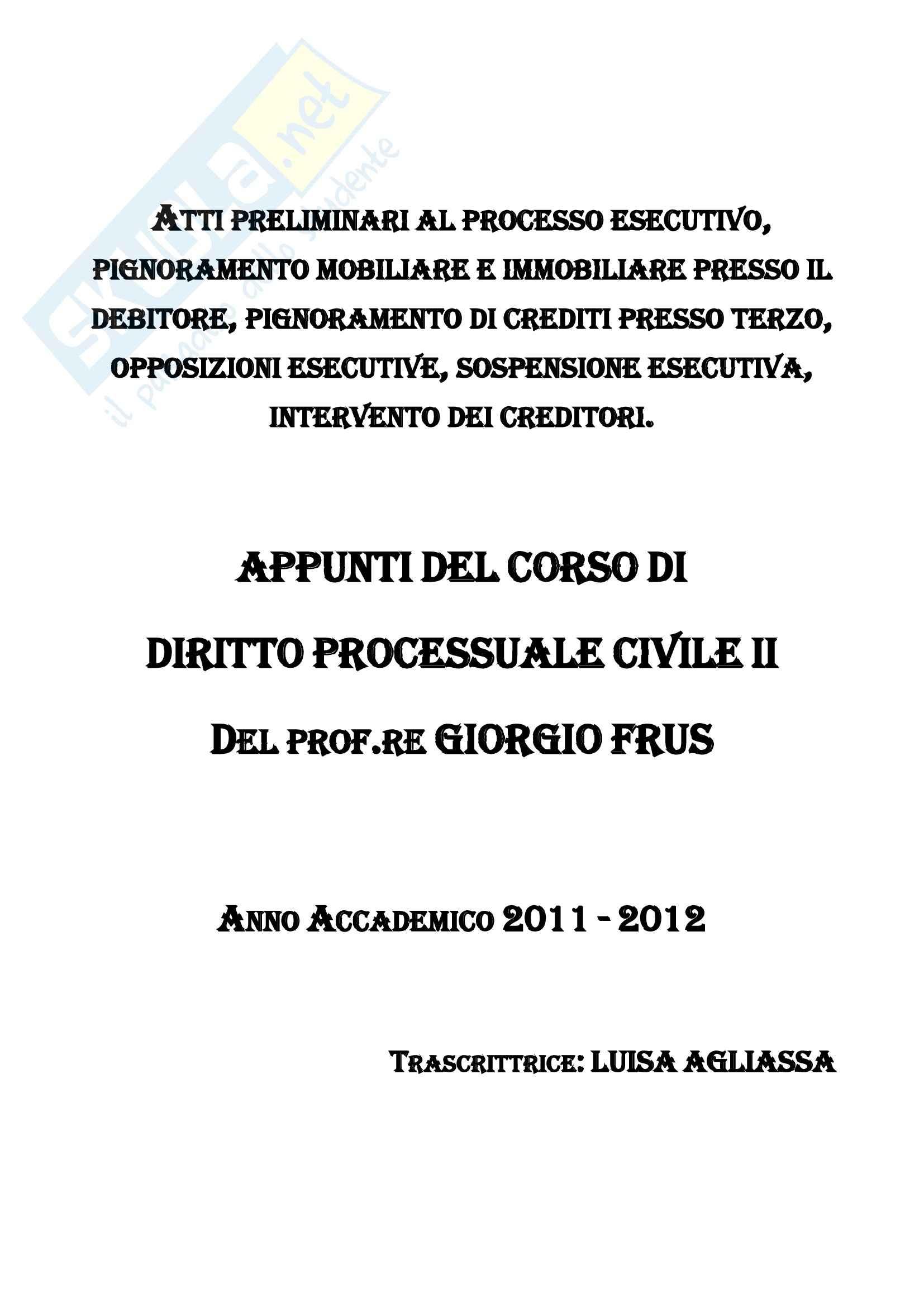 PROCEDURA CIVILE - Processo di esecuzione ex libro III CPC