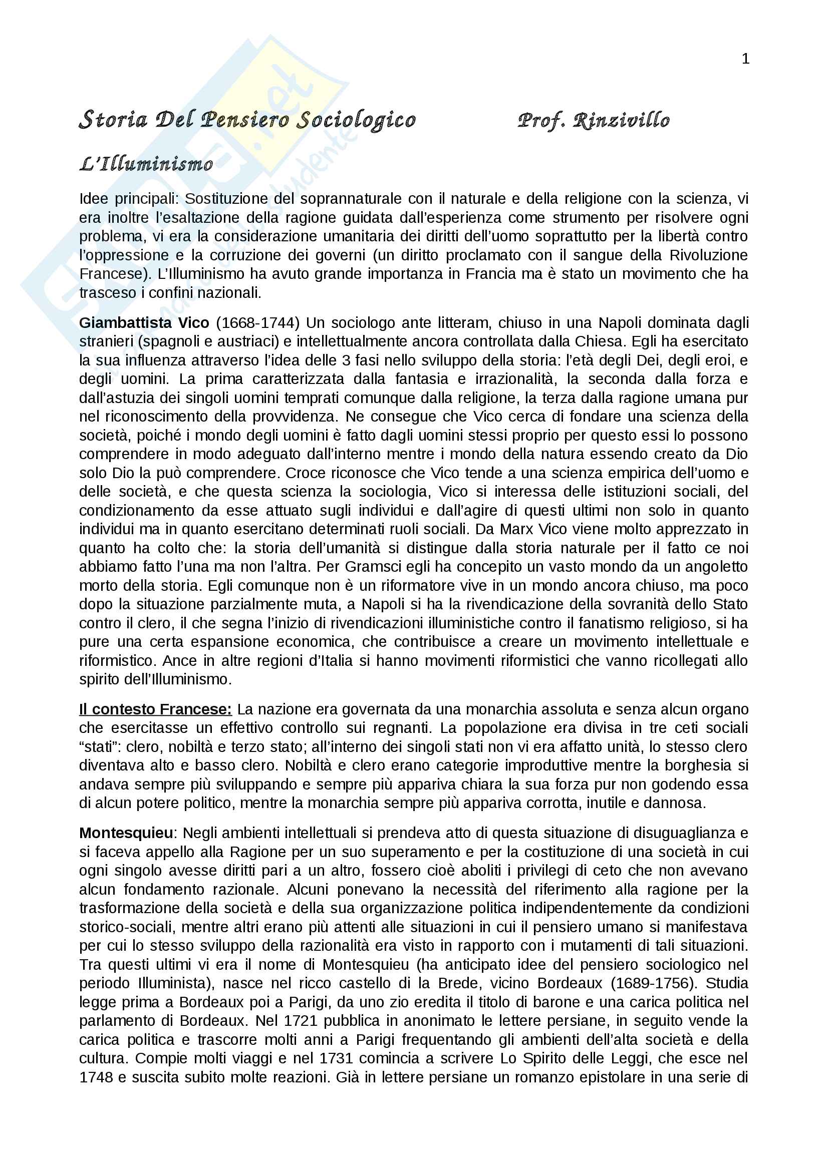 Riassunto esame storia del pensiero sociologico, prof. Rinzivillo, libro consigliato Storia del pensiero sociologico,Izzo