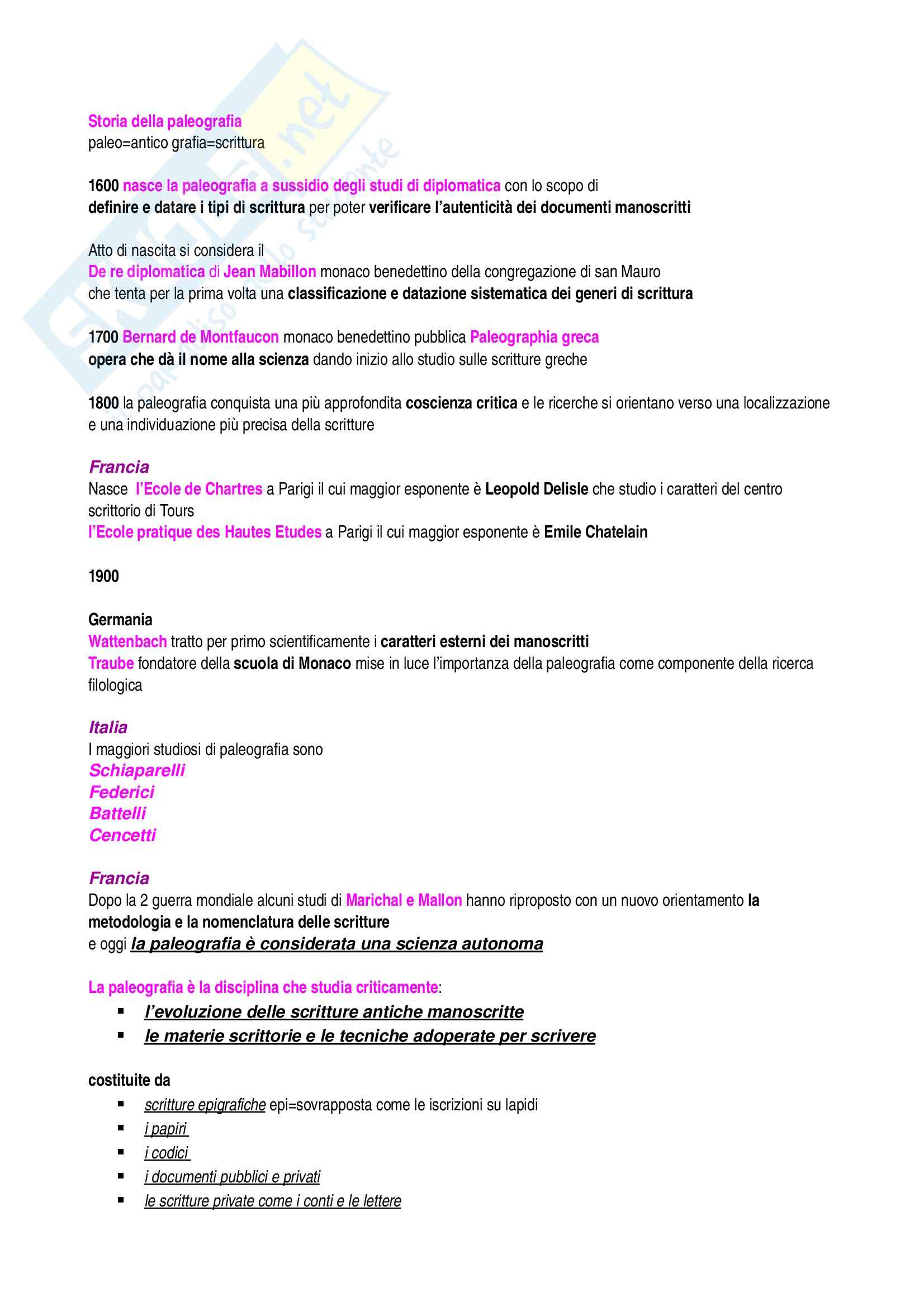 Lezioni, Paleografia latina
