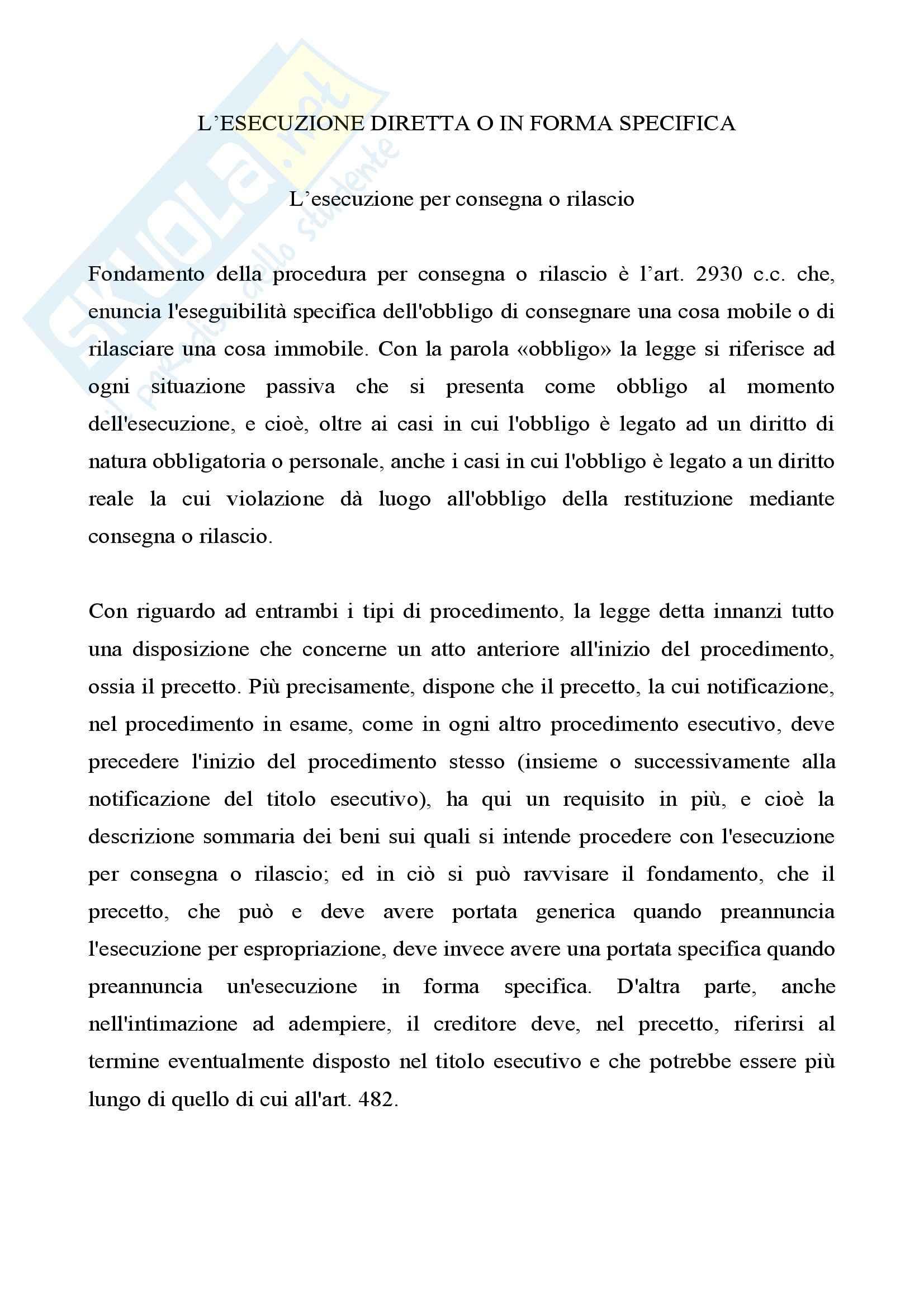 Diritto processuale civile - l'esecuzione per consegna o rilascio