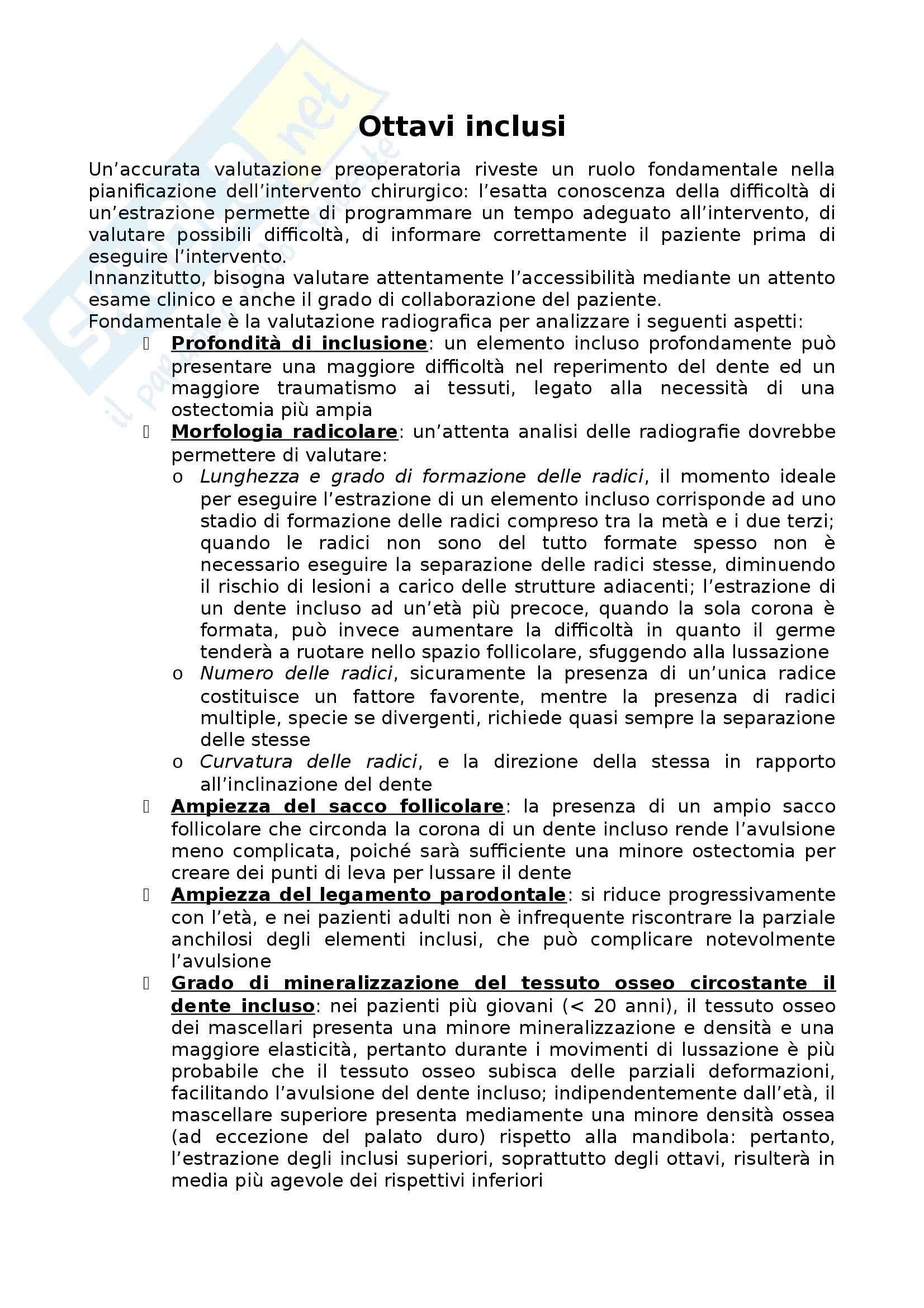 Riassunto esame Chirurgia orale : Ottavi inclusi, prof. Baldoni