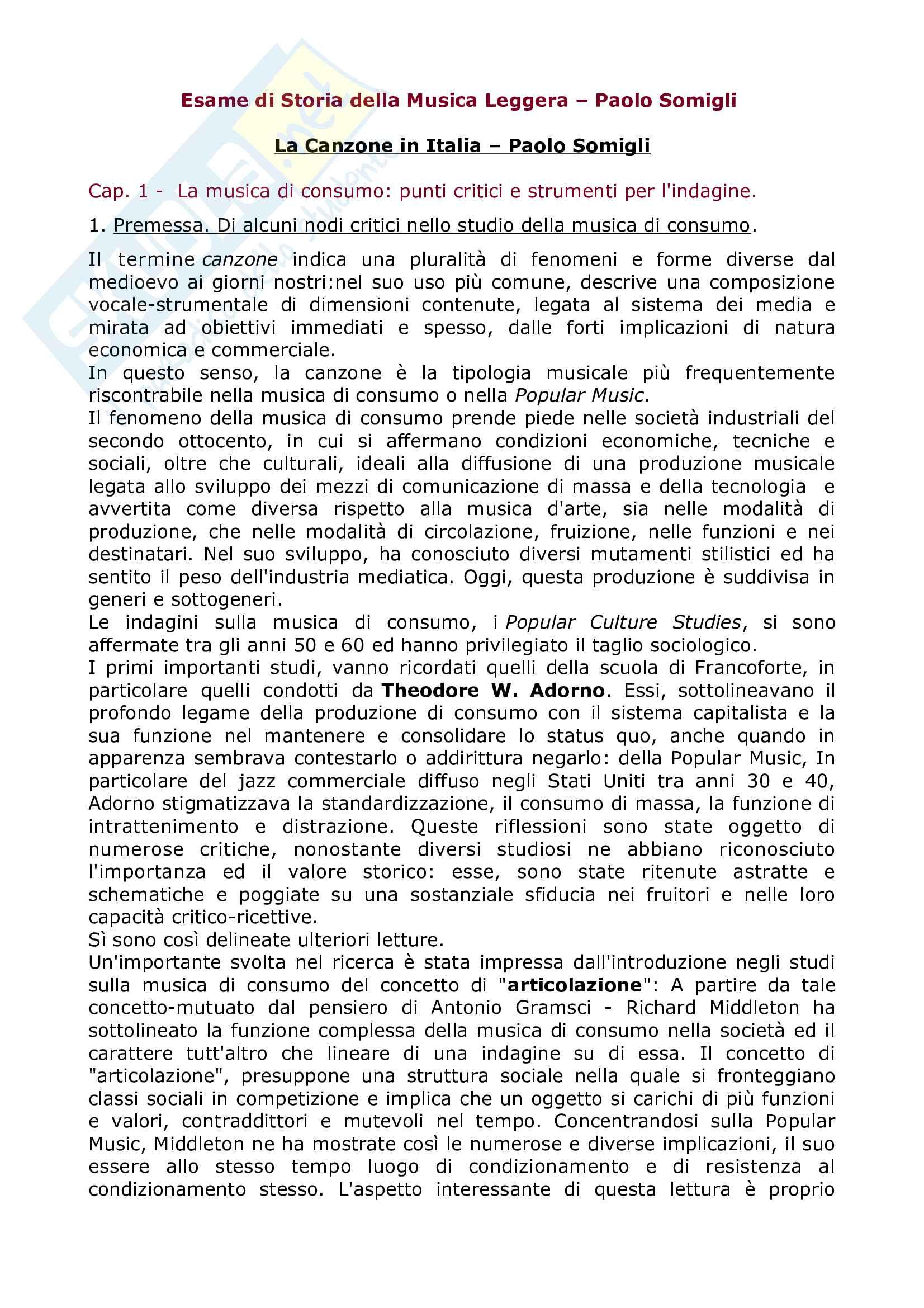Riassunto Esame Storia della Musica Leggera, prof Somigli, libro consigliato La canzone in Italia, Somigli