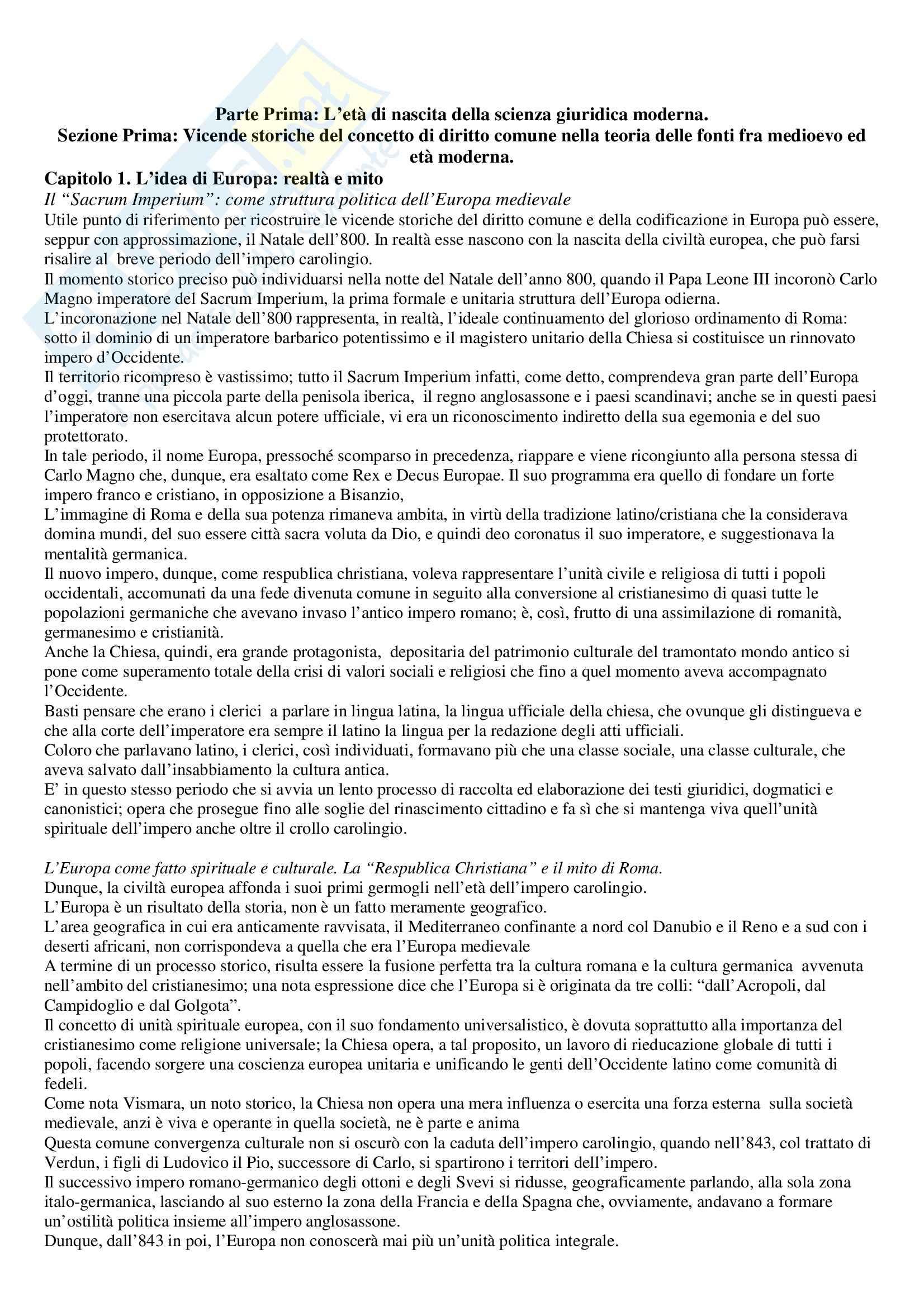 Riassunto esame Storia del Diritto Moderno, prof. Errera, libro consigliato Cavanna